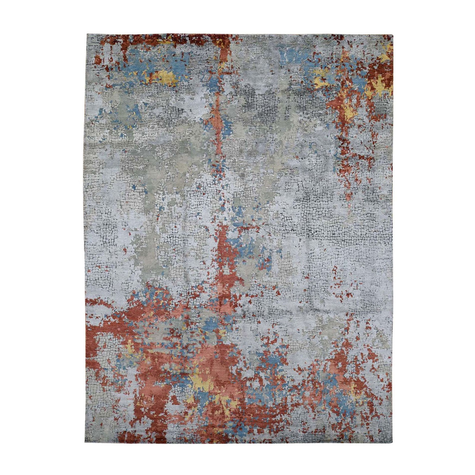 "7'10""X9'9"" Wool And Silk Abstract With Fire Mosaic Design Hand Knotted Oriental Rug moad8876"