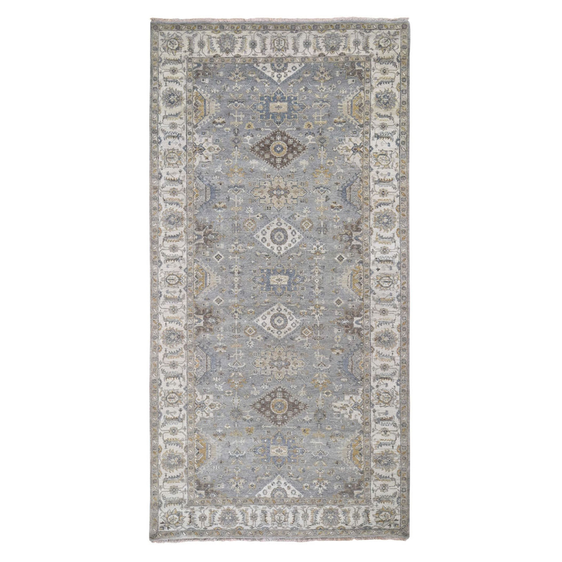 "6'1""X12'2"" Gray Karajeh Design Pure Wool Wide Gallery Hand Knotted Runner Oriental Rug moad8878"