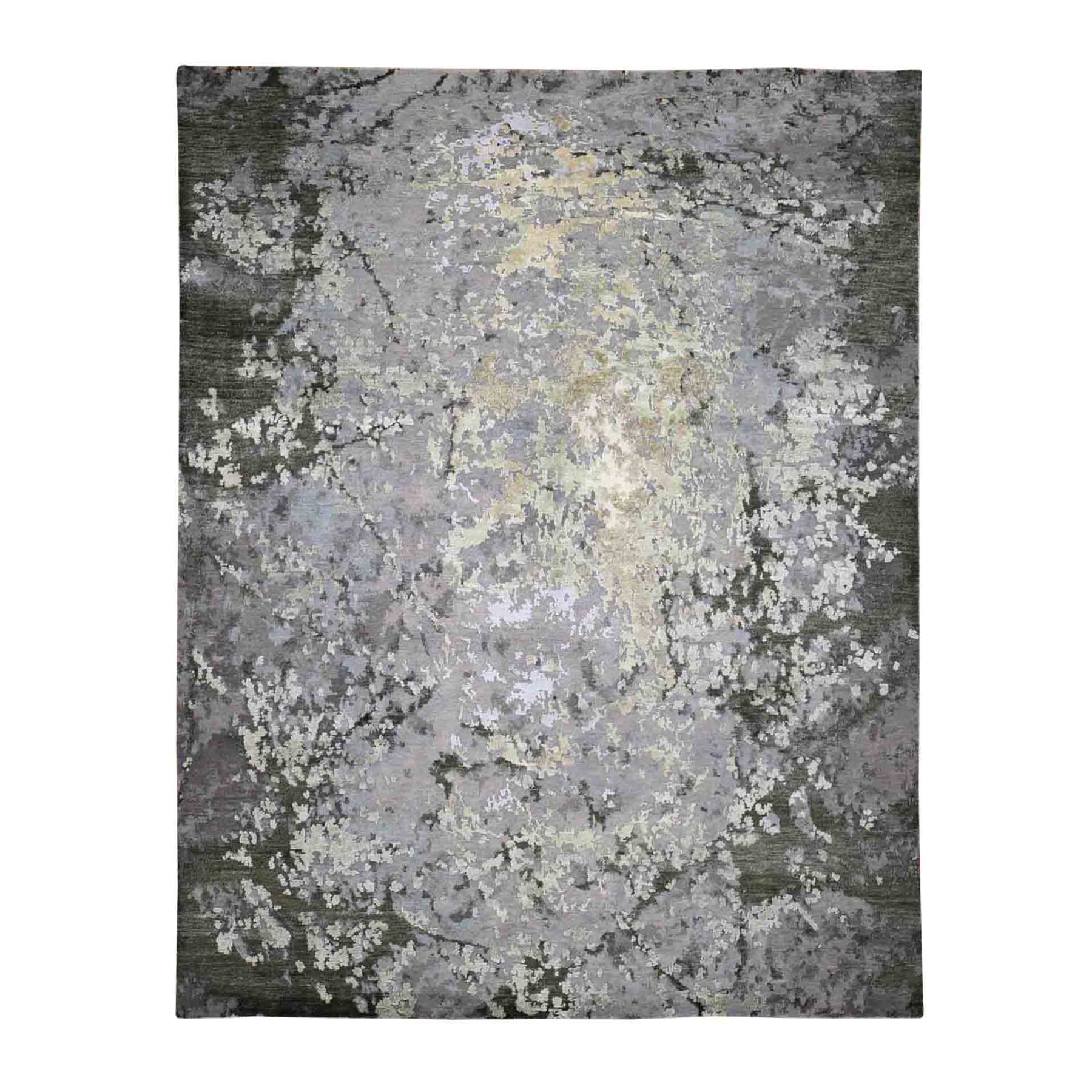"8'3""X10' Green Hi-Lo Pile Abstract Design Wool And Silk Hand Knotted Oriental Rug moad8880"
