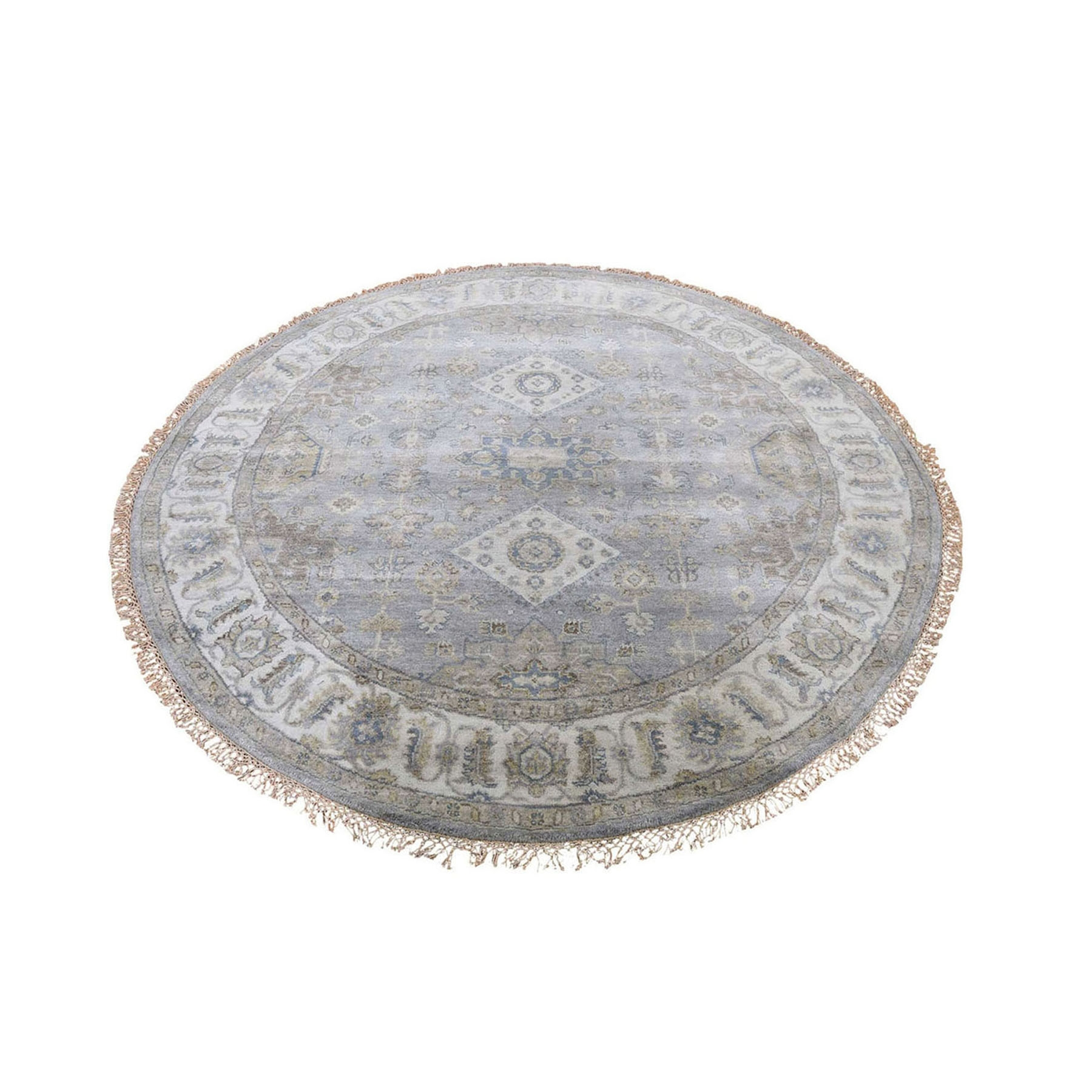 6'X6' Round Gray Karajeh Design Pure Wool Hand Knotted Oriental Rug moad888a