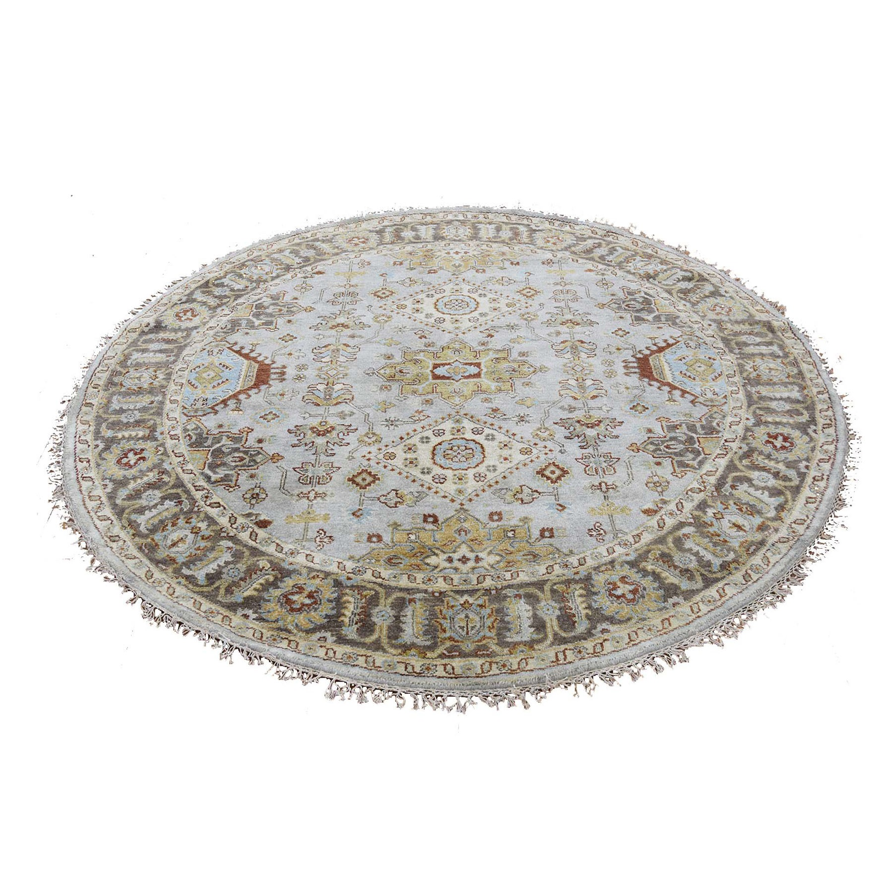 "7'3""X7'3"" Gray Karajeh Design Pure Wool Round Hand Knotted Oriental Rug moad888b"