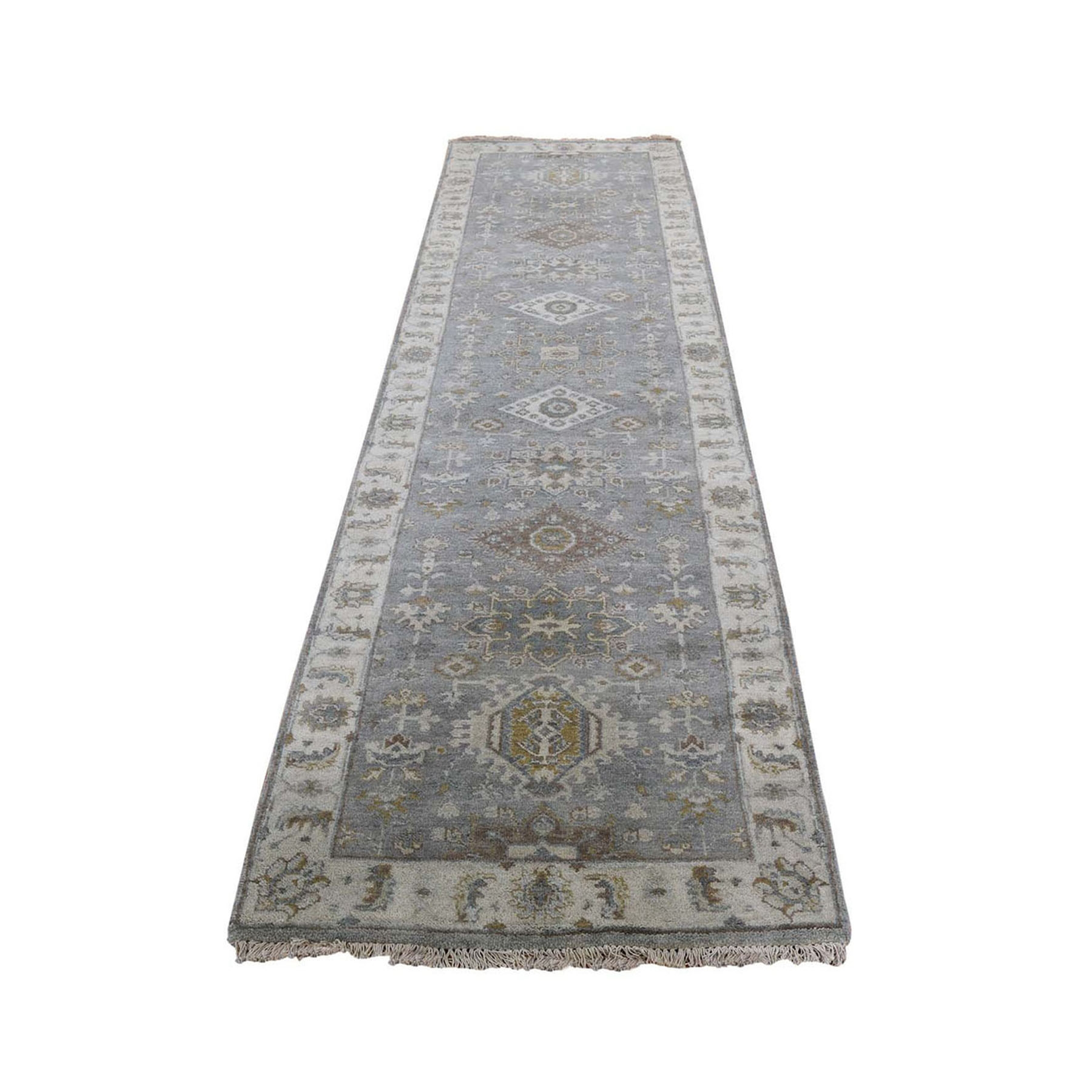 "2'6""x8'2"" Gray karajeh Design Pure Wool Hand Knotted Runner Oriental Rug"
