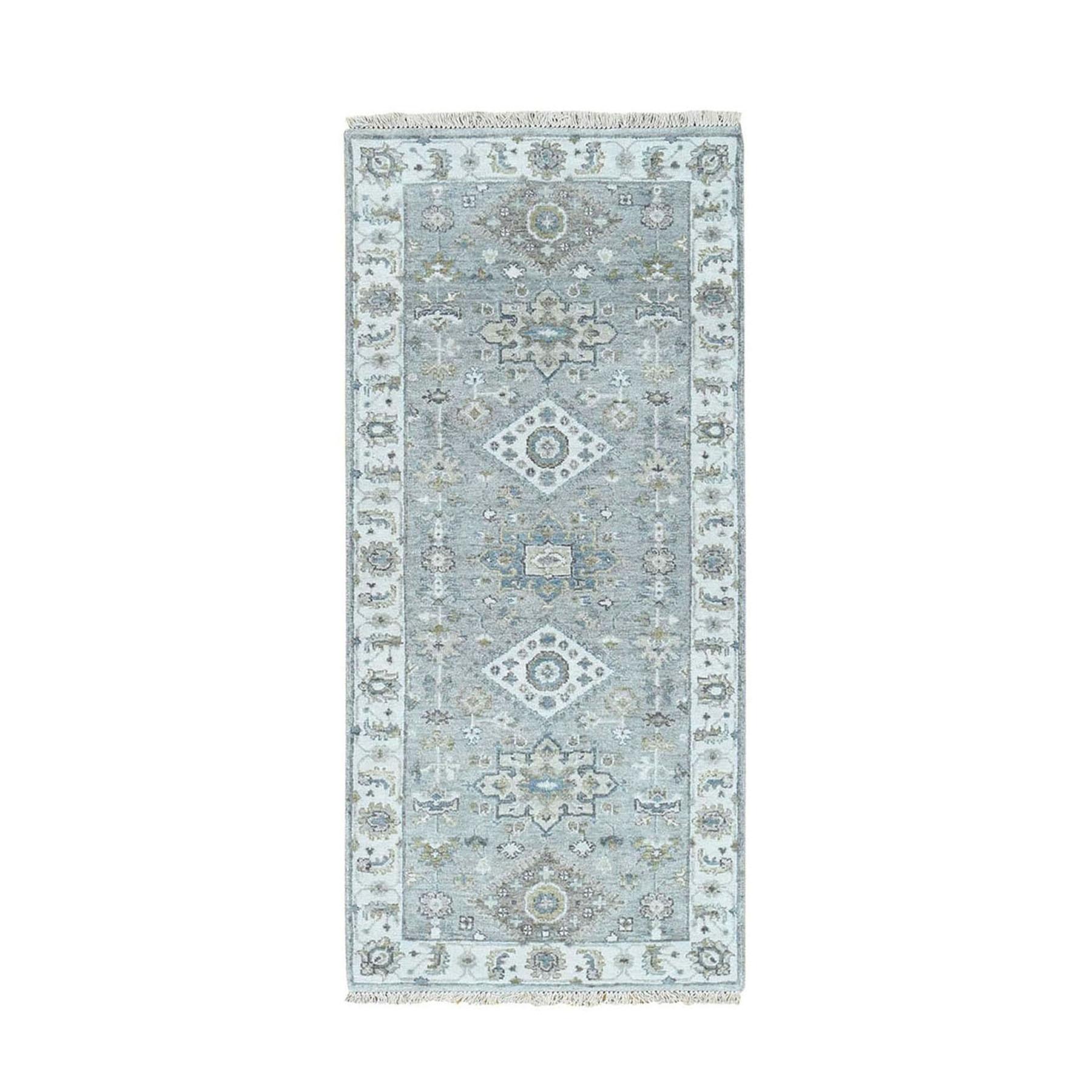 "2'7""x6'2"" Gray Karajeh Design Pure Wool Runner Hand knotted Oriental Rug 48885"