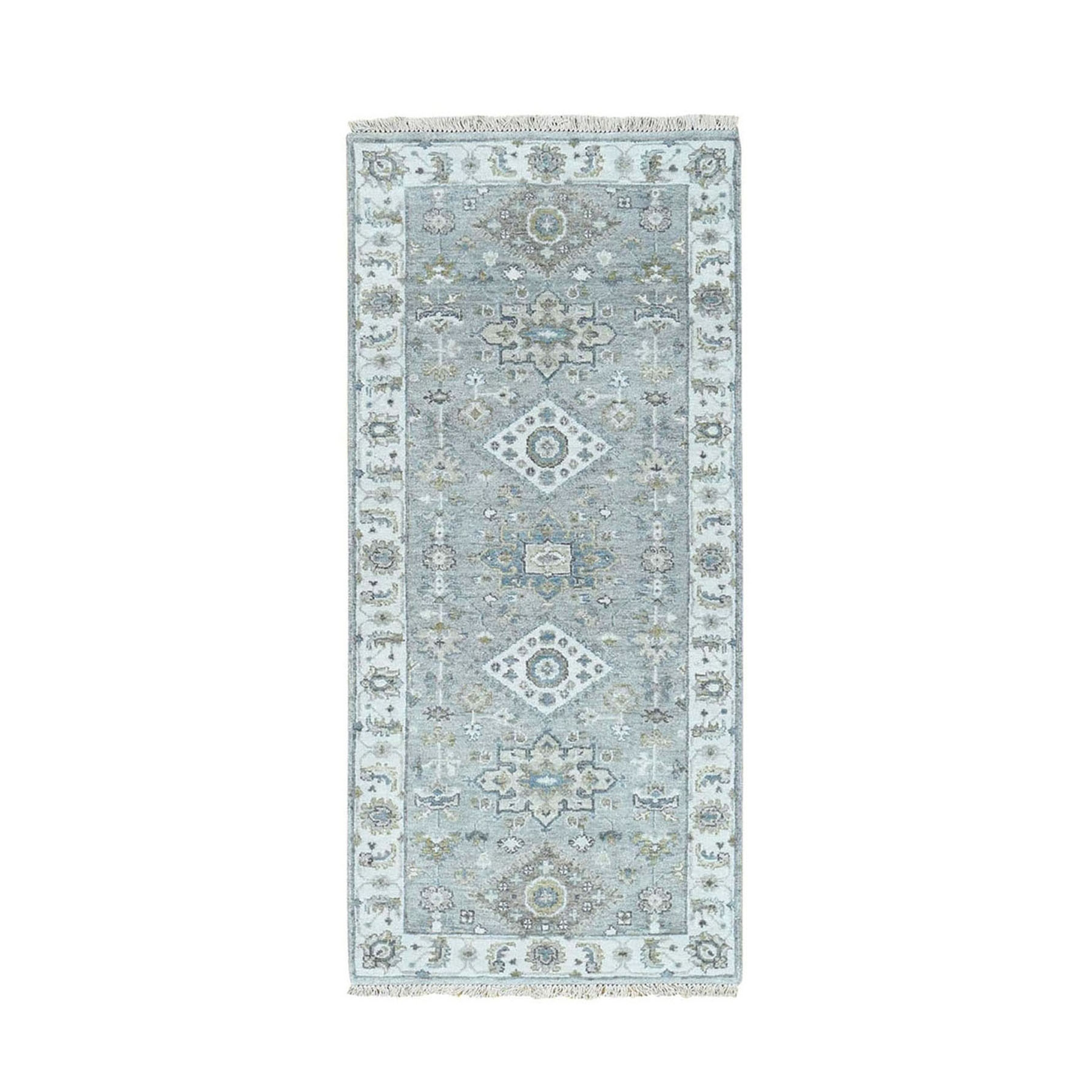 """2'7""""X6' Gray Karajeh Design Pure Wool Runner Hand Knotted Oriental Rug moad8890"""