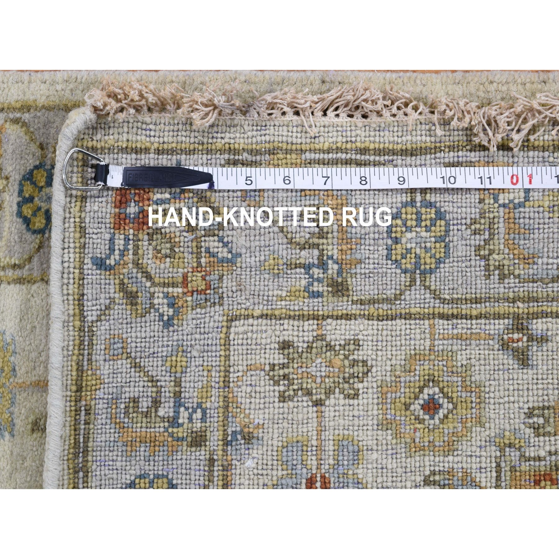 "2'7""x8' Ivory Pure Wool Geometric Design Runner Hand Knotted Tribal Rug"