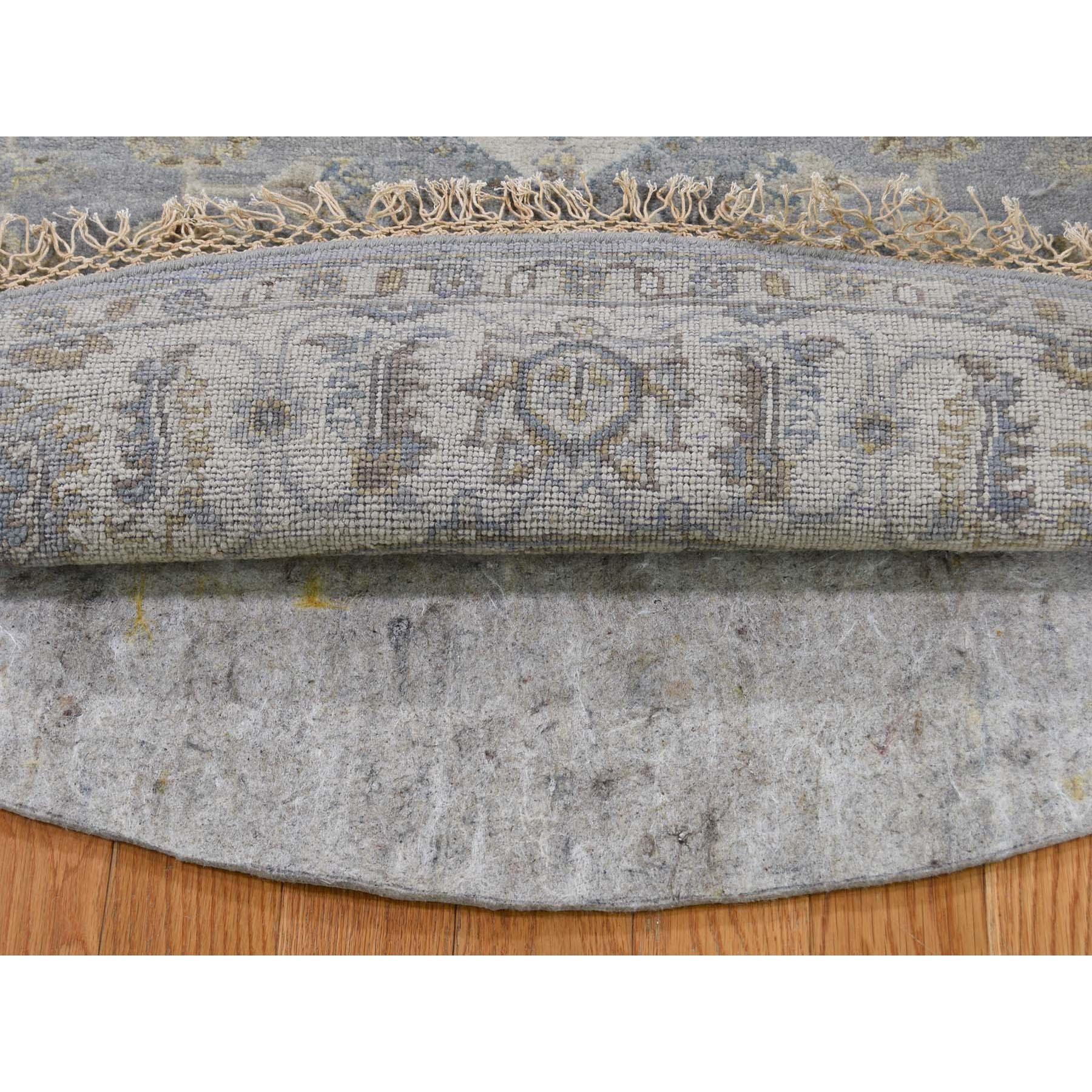 6-x6- Gray Karajeh Design Pure Wool Hand-Knotted Round Oriental Rug