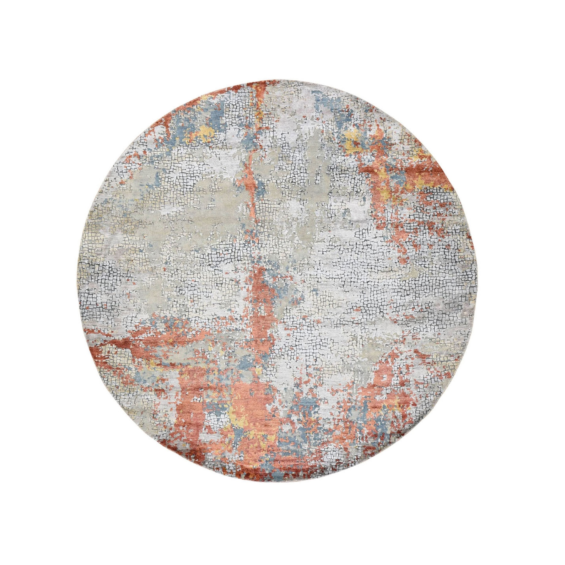 """5'10""""x5'10"""" Round Wool And Silk Abstract With Fire Mosaic Design Hand Knotted Oriental Rug 48902"""