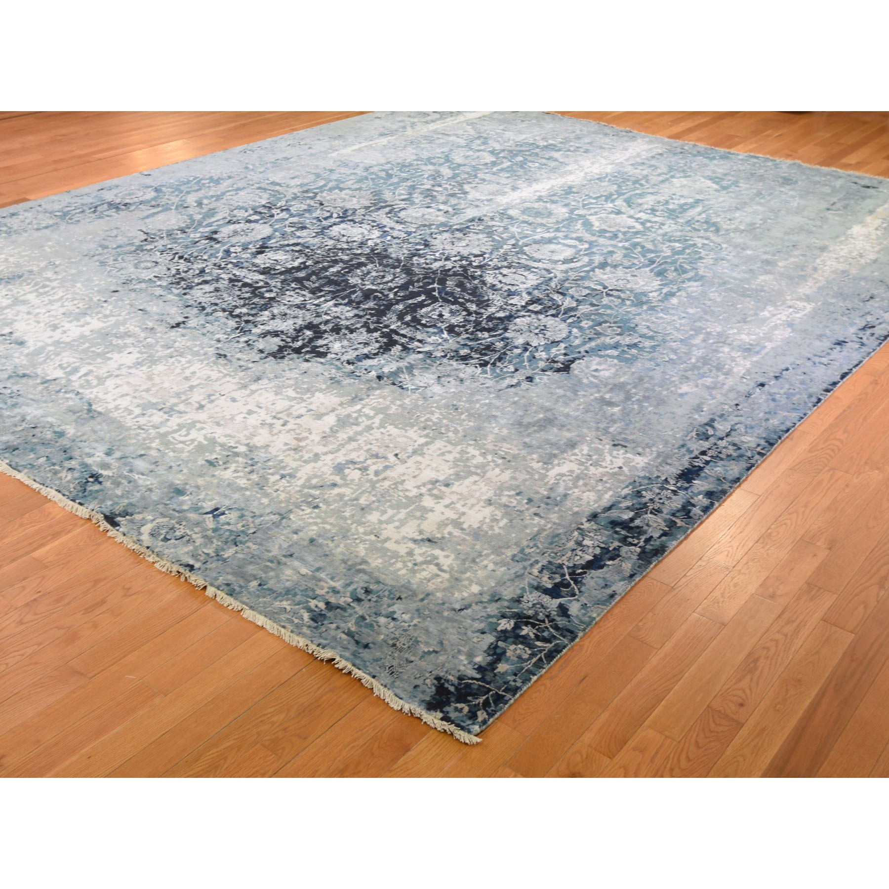 12-x15-1  Oversized Blue Broken Persian Tabriz Erased Design Wool And Silk Hand Knotted Oriental Rug