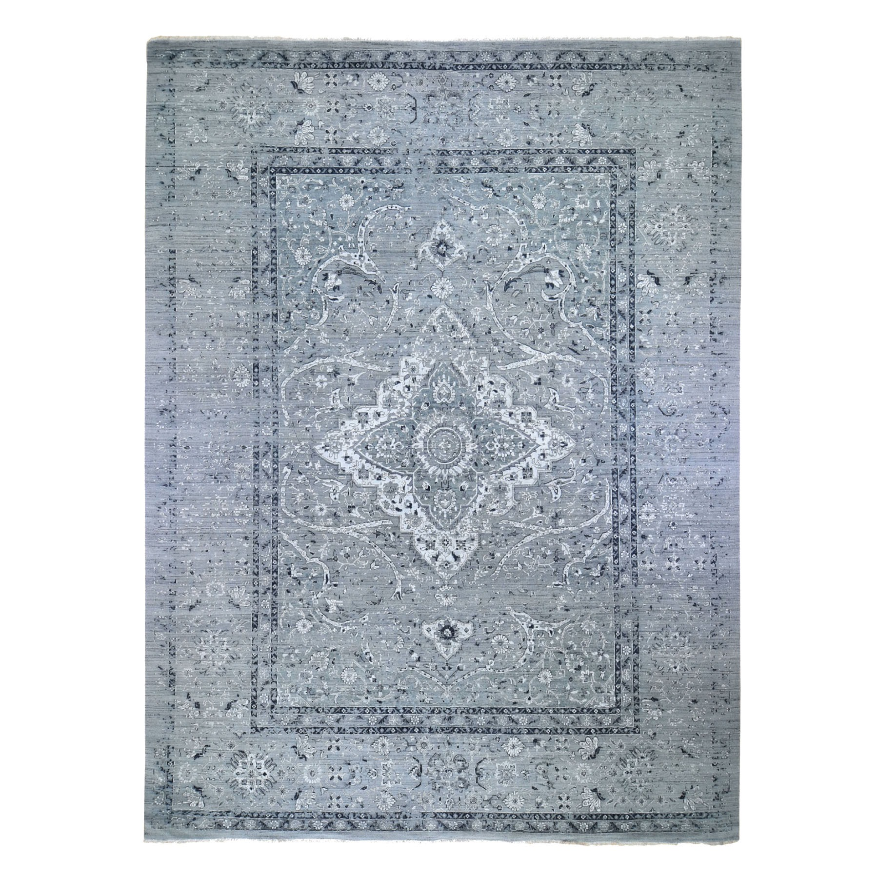 """12'X15'5"""" Gray Oversized Broken Persian Erased Design Silk With Textured Wool Hand Knotted Oriental Rug moad8907"""