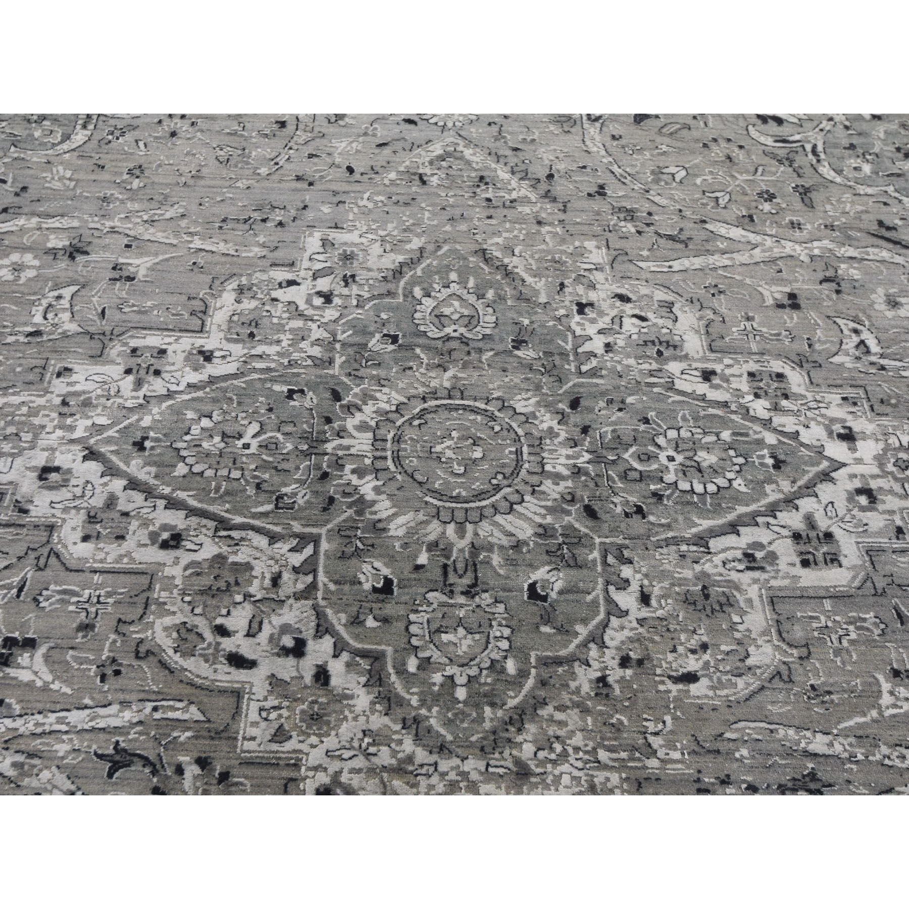 12-x15-5  Gray Oversized Broken Persian Erased Design Silk With Textured Wool Hand Knotted Oriental Rug