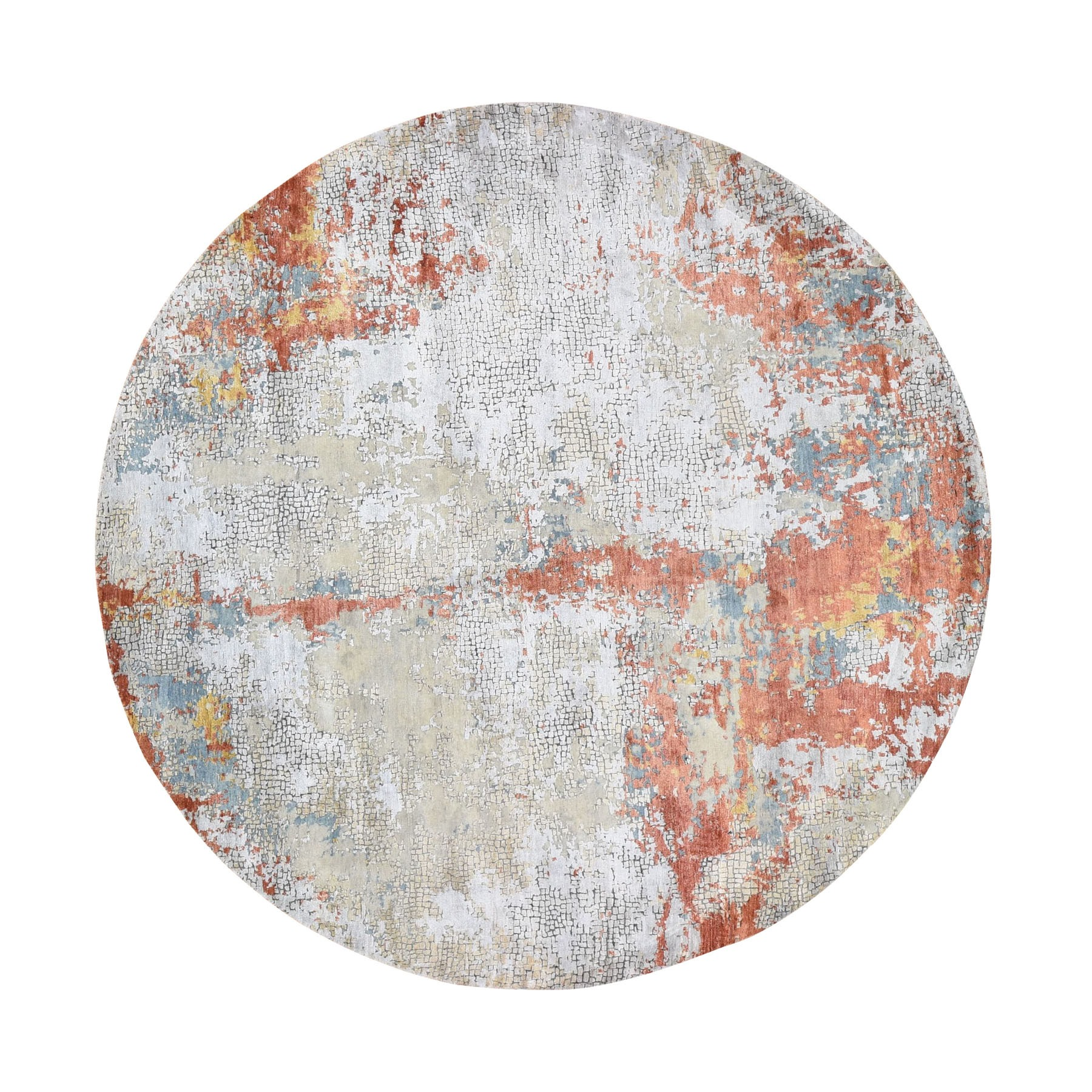 """9'10'X9'10"""" Round Wool And Silk Abstract With Fire Mosaic Design Hand Knotted Oriental Rug moad8908"""
