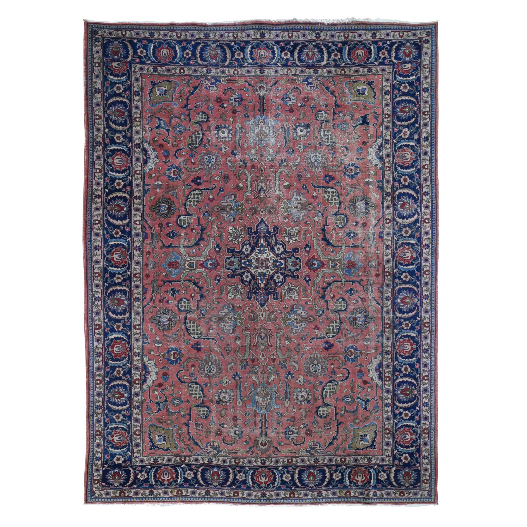 """8'6""""x11'10"""" Salmon Vintage Persian Tabriz Worn And Distressed Hand Knotted Bohemian Rug 48909"""
