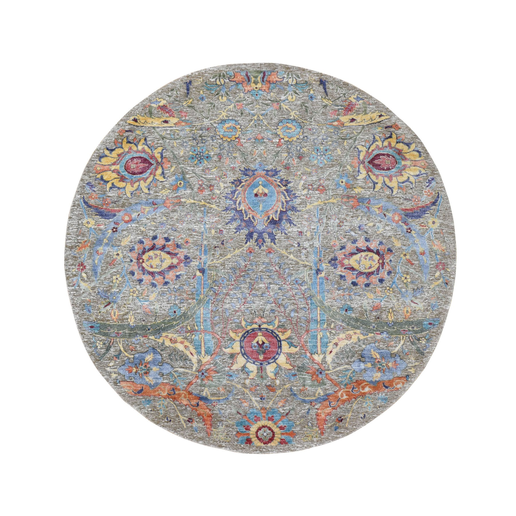 6'X6' Round Sickle Leaf Design Silk With Textured Wool Hand Knotted Oriental Rug moad89ac