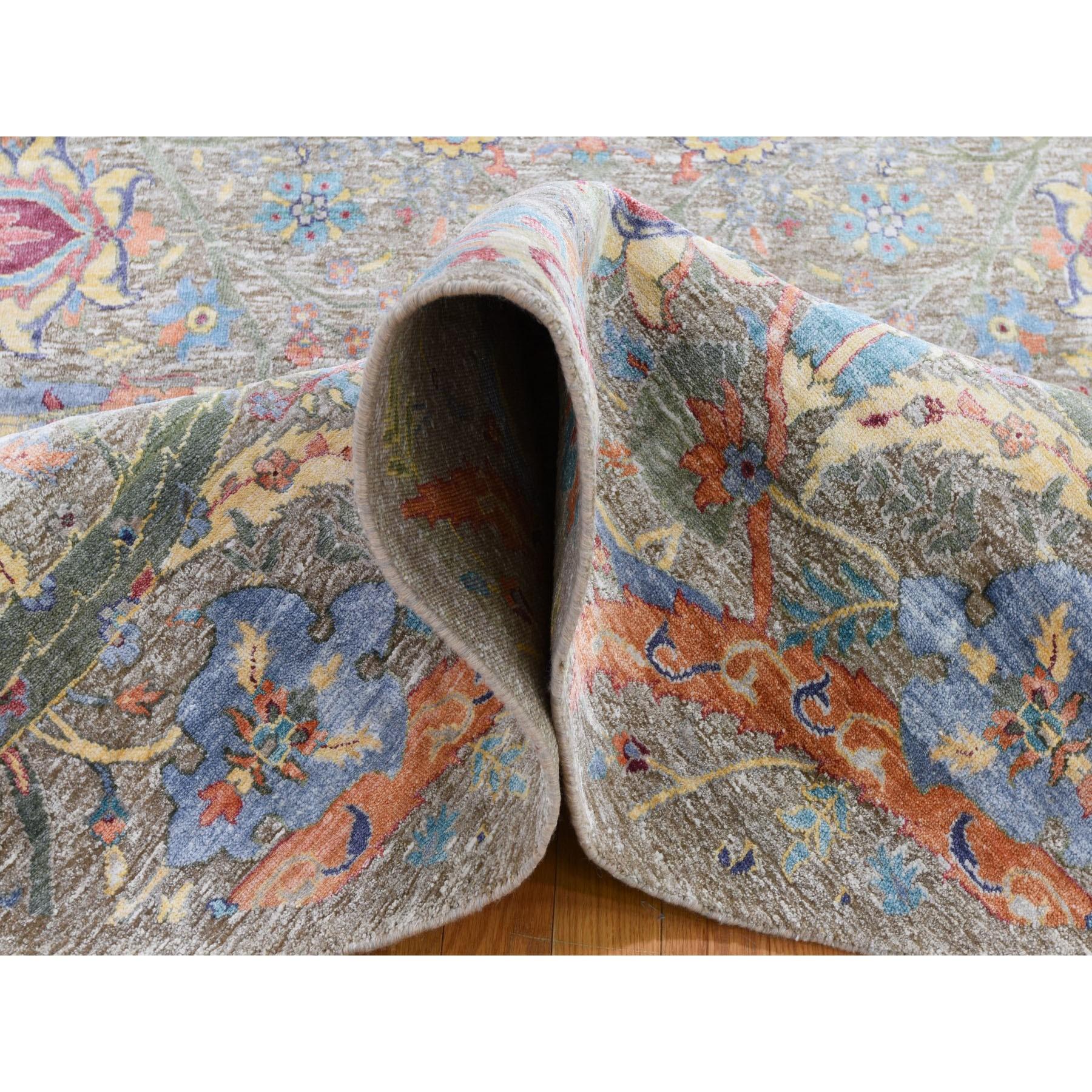 6-x6- Round Sickle Leaf Design Silk With Textured Wool Hand Knotted Oriental Rug