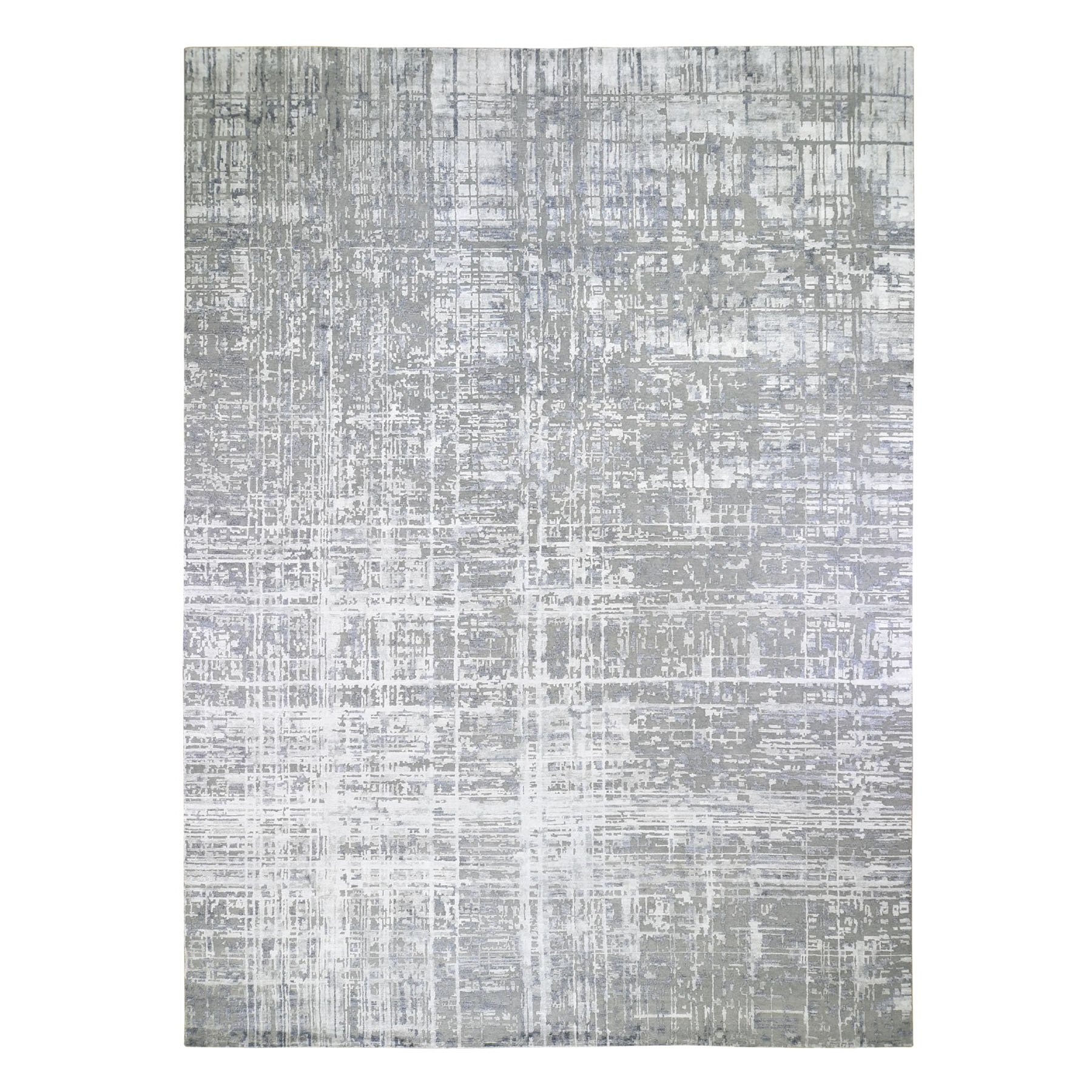 """12'X15'1"""" Gray Oversized Wool And Silk Abstract Design Hand Knotted Oriental Rug moad89ad"""