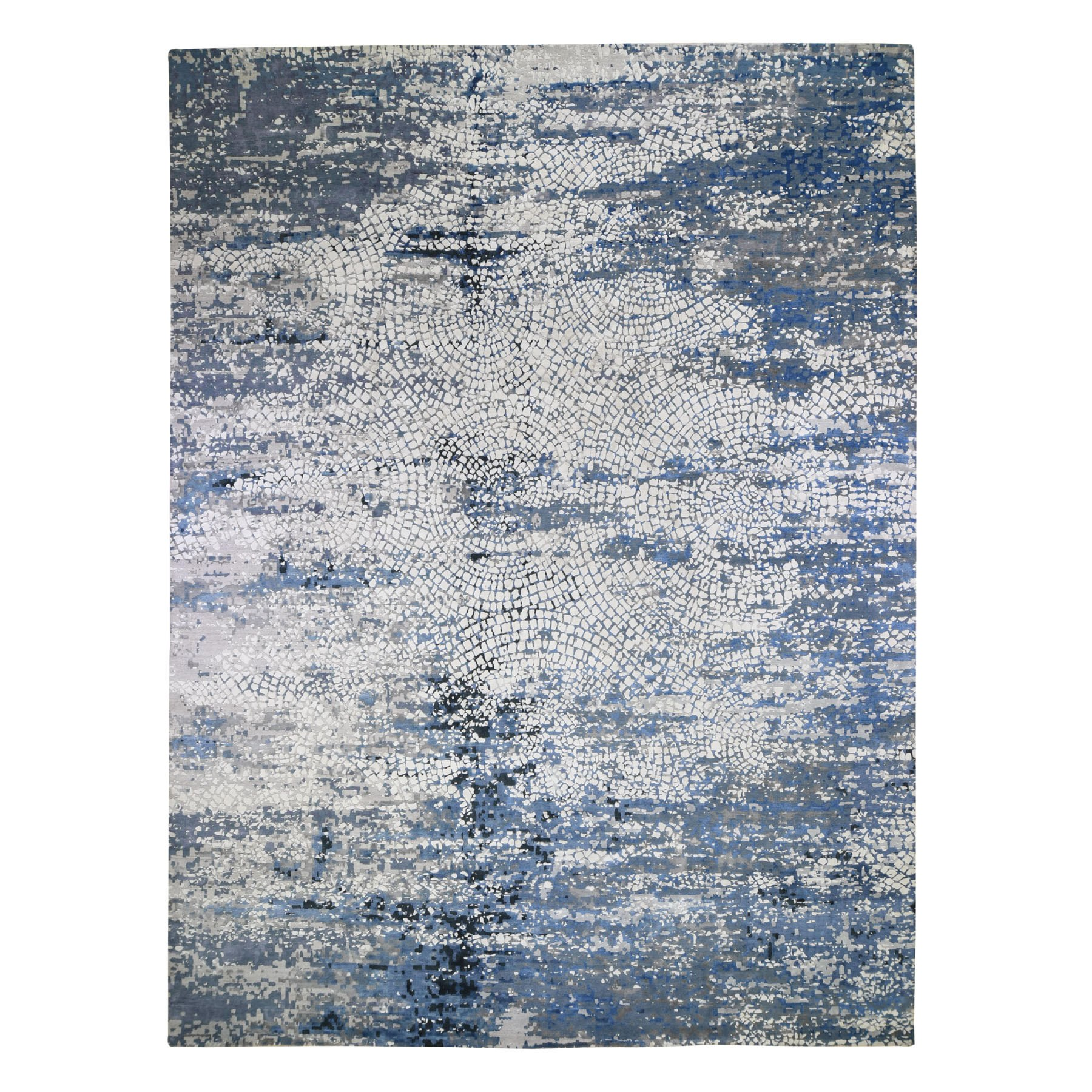 """12'X15'1"""" Oversized Blue Wool And Pure Silk Erased Roman Mosaic Design Hand Knotted Oriental Rug moad89ae"""