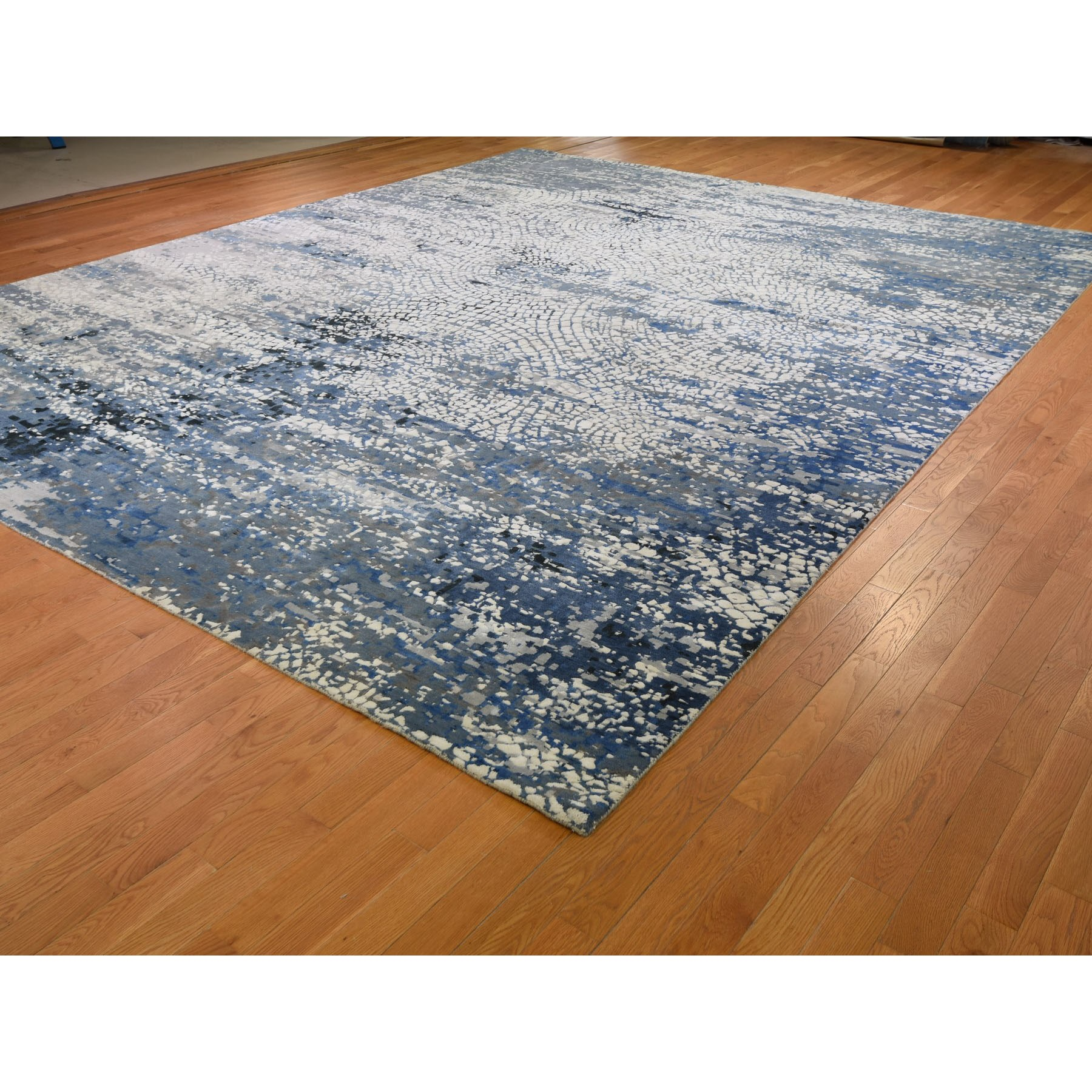 12-x15-1  Oversized Blue Wool And Pure Silk Erased Roman Mosaic Design hand Knotted Oriental Rug