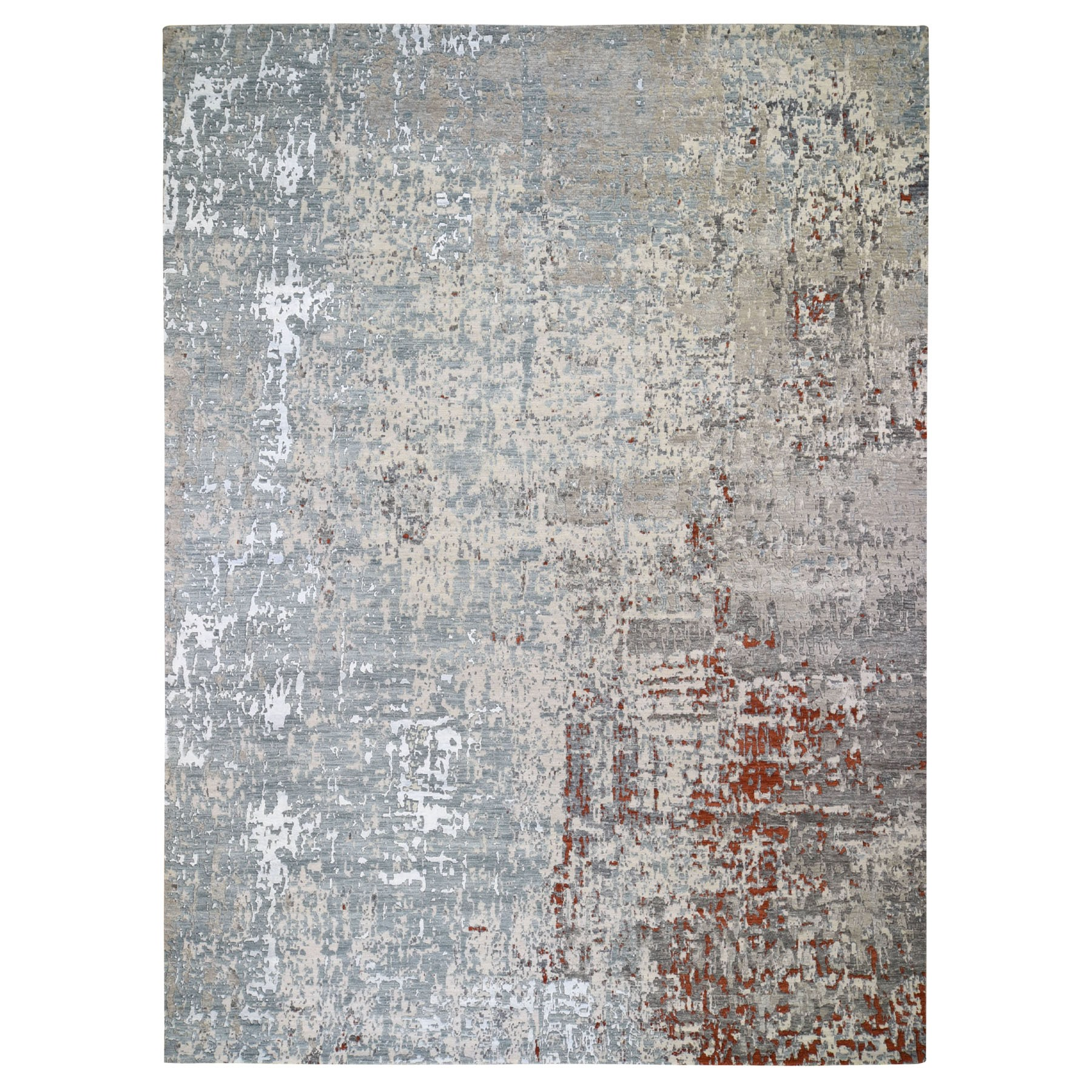 "9'10""X14'7"" Terracotta Abstract Design Wool And Silk Hi-Low Pile Denser Weave Hand Knotted Oriental Rug moad89a7"
