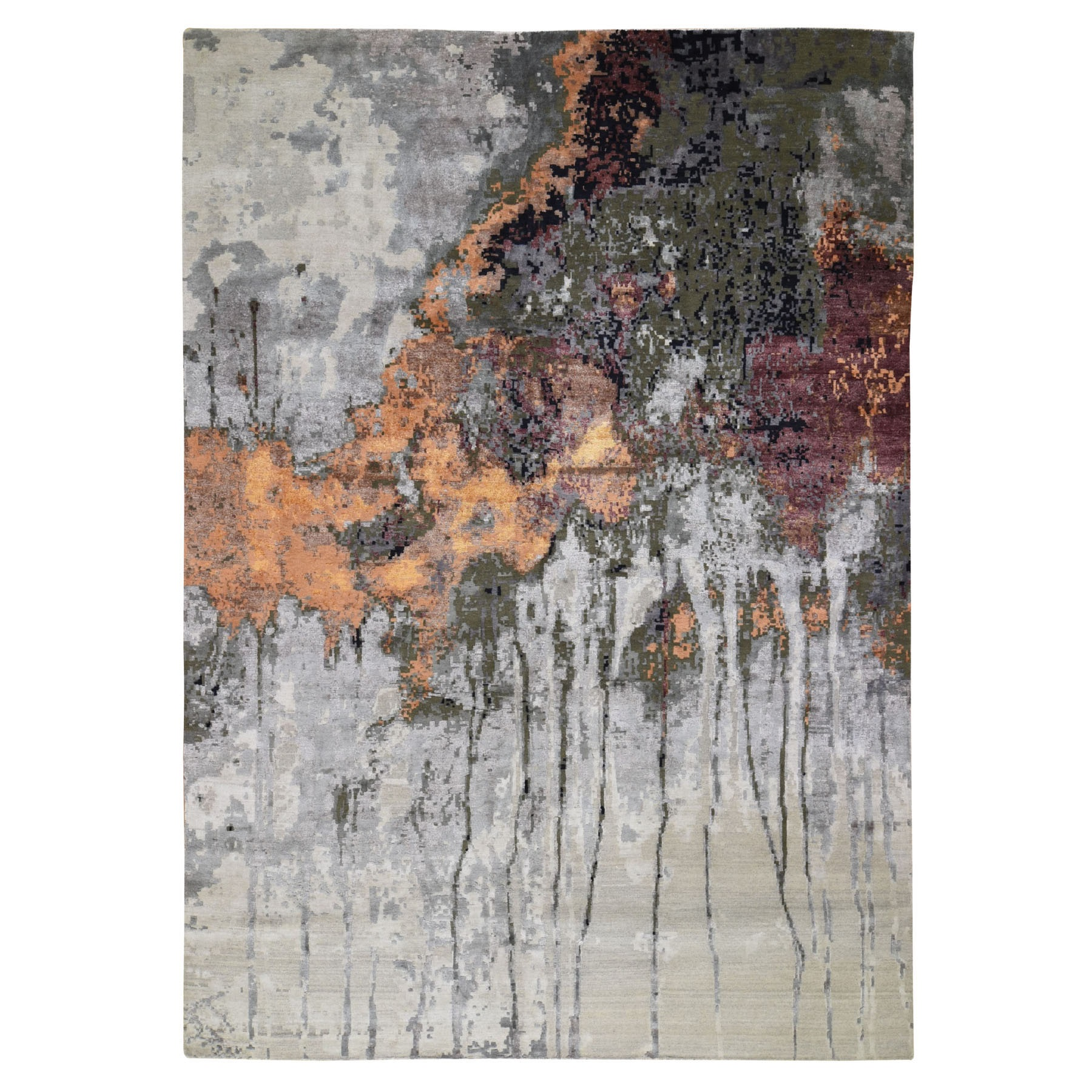 """8'10""""X12'3"""" Dripping Design Abstract Wool And Pure Silk Hand Knotted Oriental Rug moad89a8"""