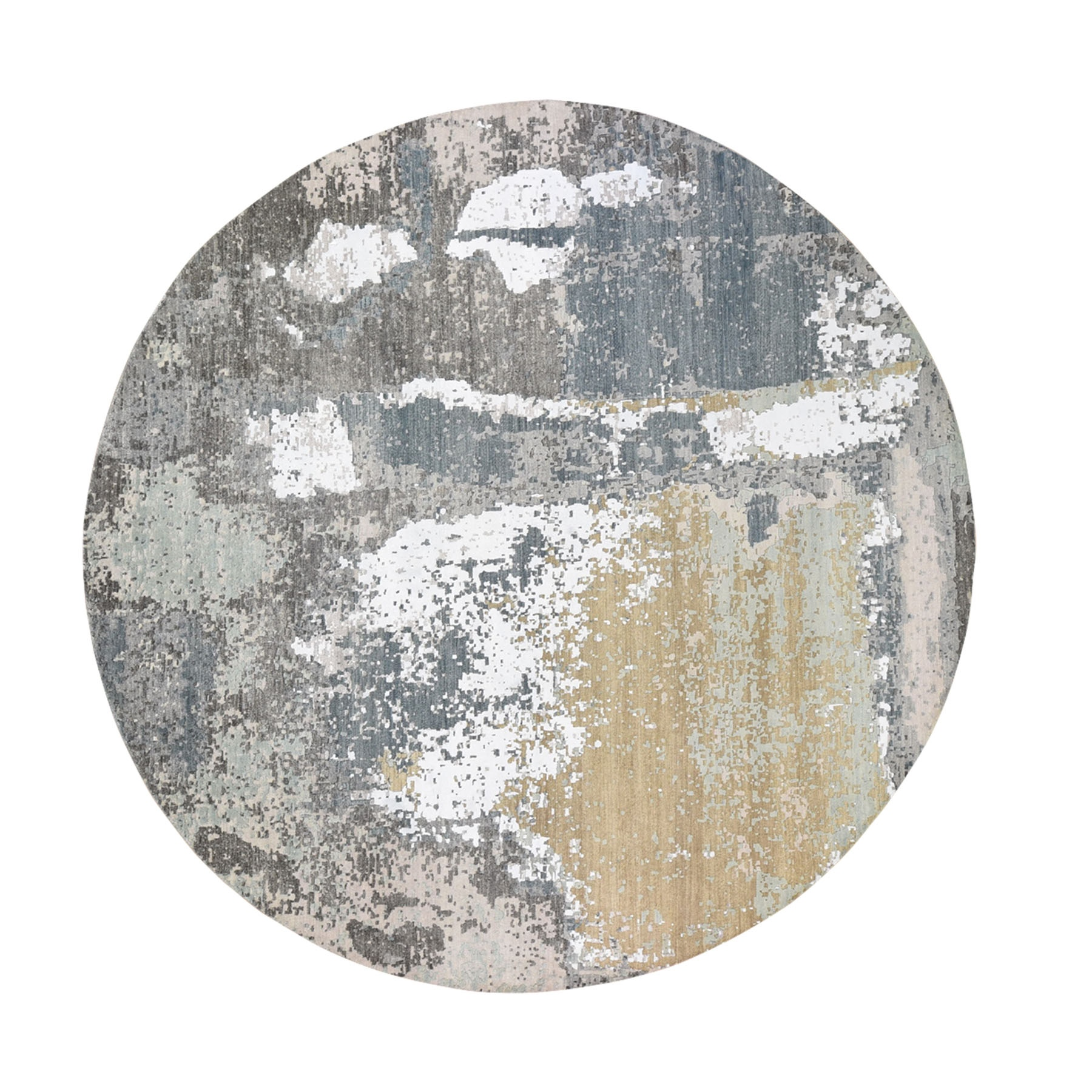 10'X10' Gray Round Abstract Design Wool And Silk Hi-Low Pile Denser Weave Hand Knotted Oriental Rug moad89bd