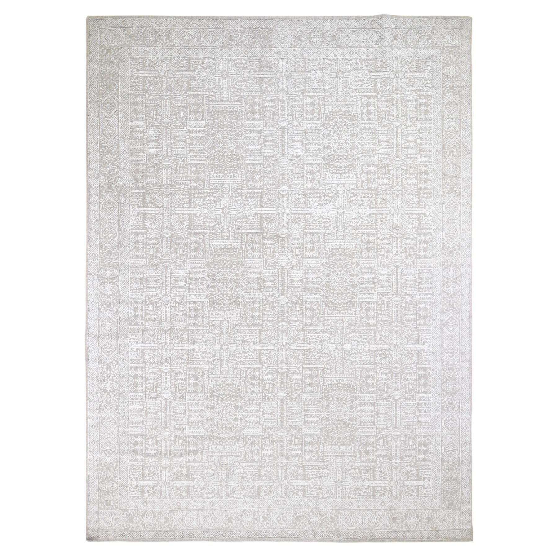 "8'10""x12'2"" Gray Fine jacquard Hand-Loomed Modern Wool And Silk Oriental Rug 48925"