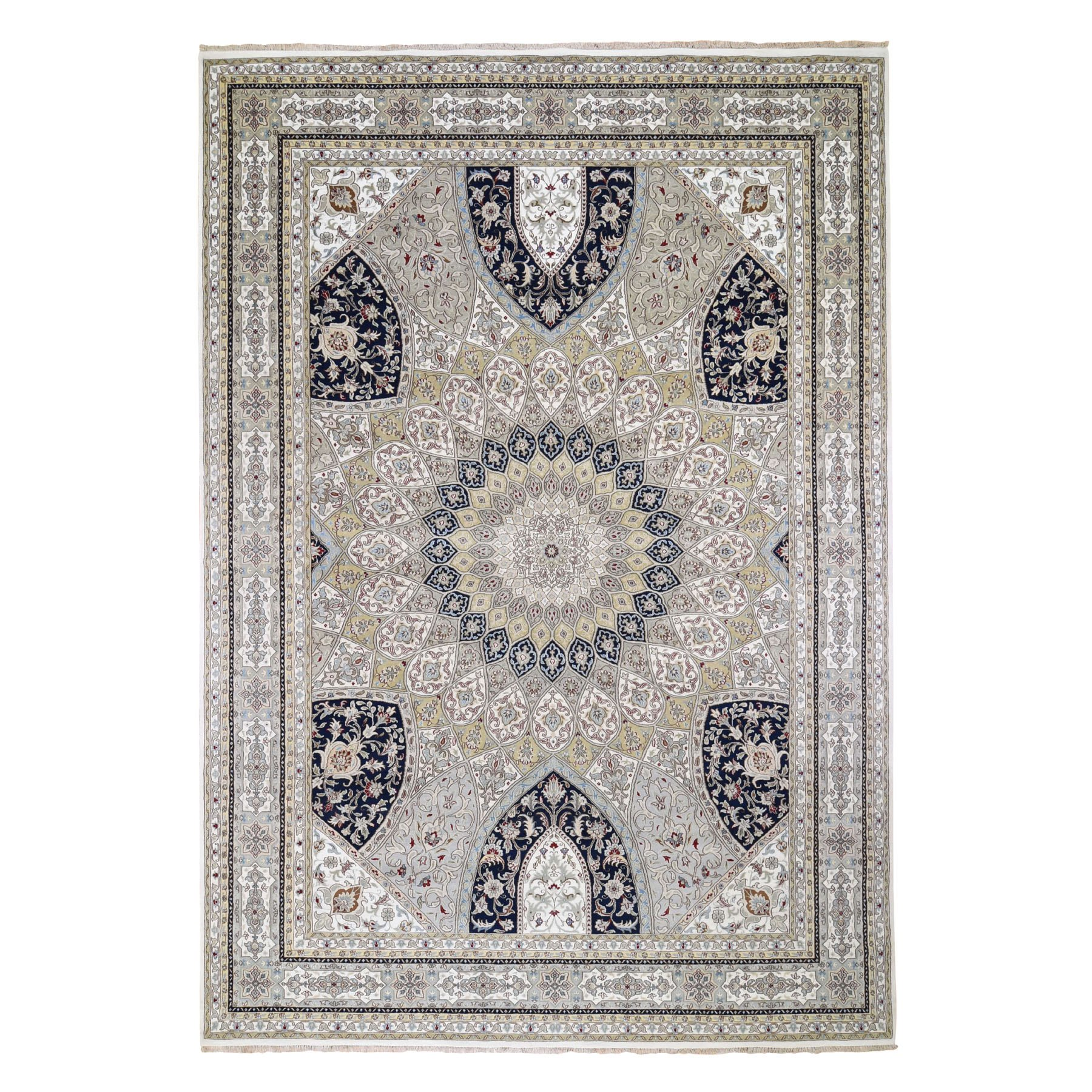 """9'8""""x14'1"""" Gray Nain With Gumbad Design Wool And Silk Hand Knotted Oriental Rug 48928"""