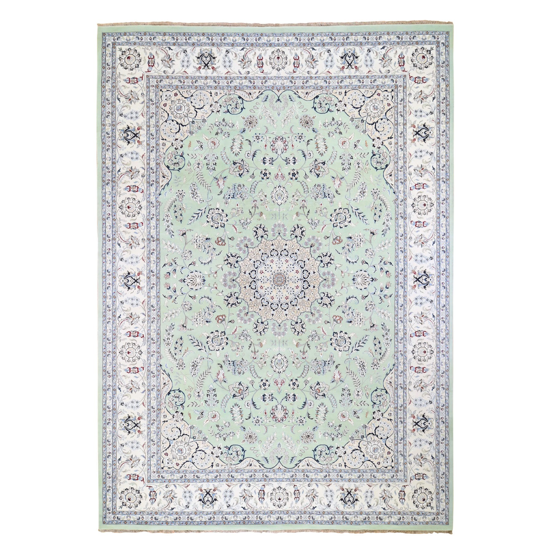 10'X14' Wool And Silk 250 Kpsi Light Green Nain Hand-Knotted Oriental Rug moad89b9