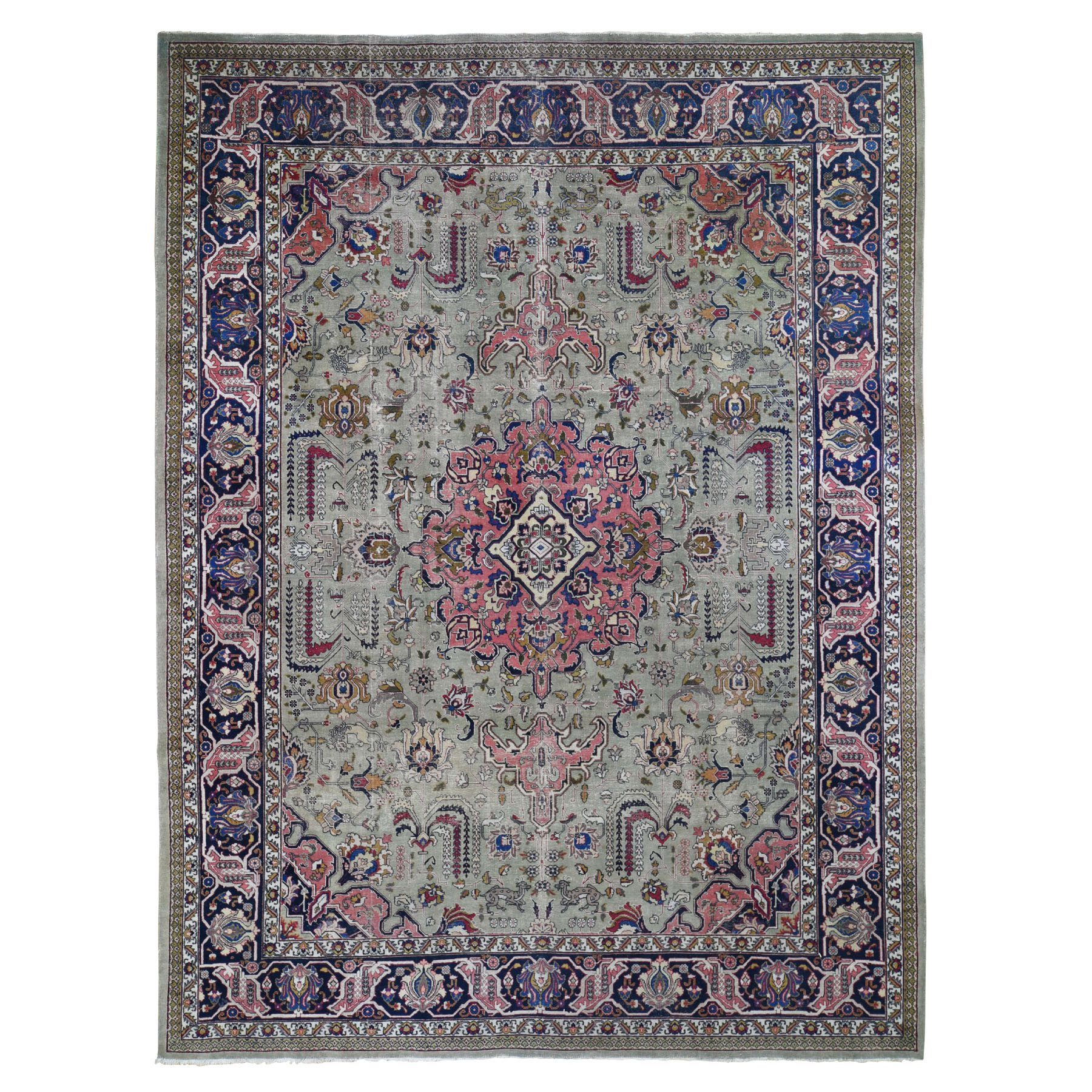 "9'4""X12'3"" Taupe Green Worn Old Persian Tabriz Vintage Distressed And Clean Bohemian Rug moad89cb"