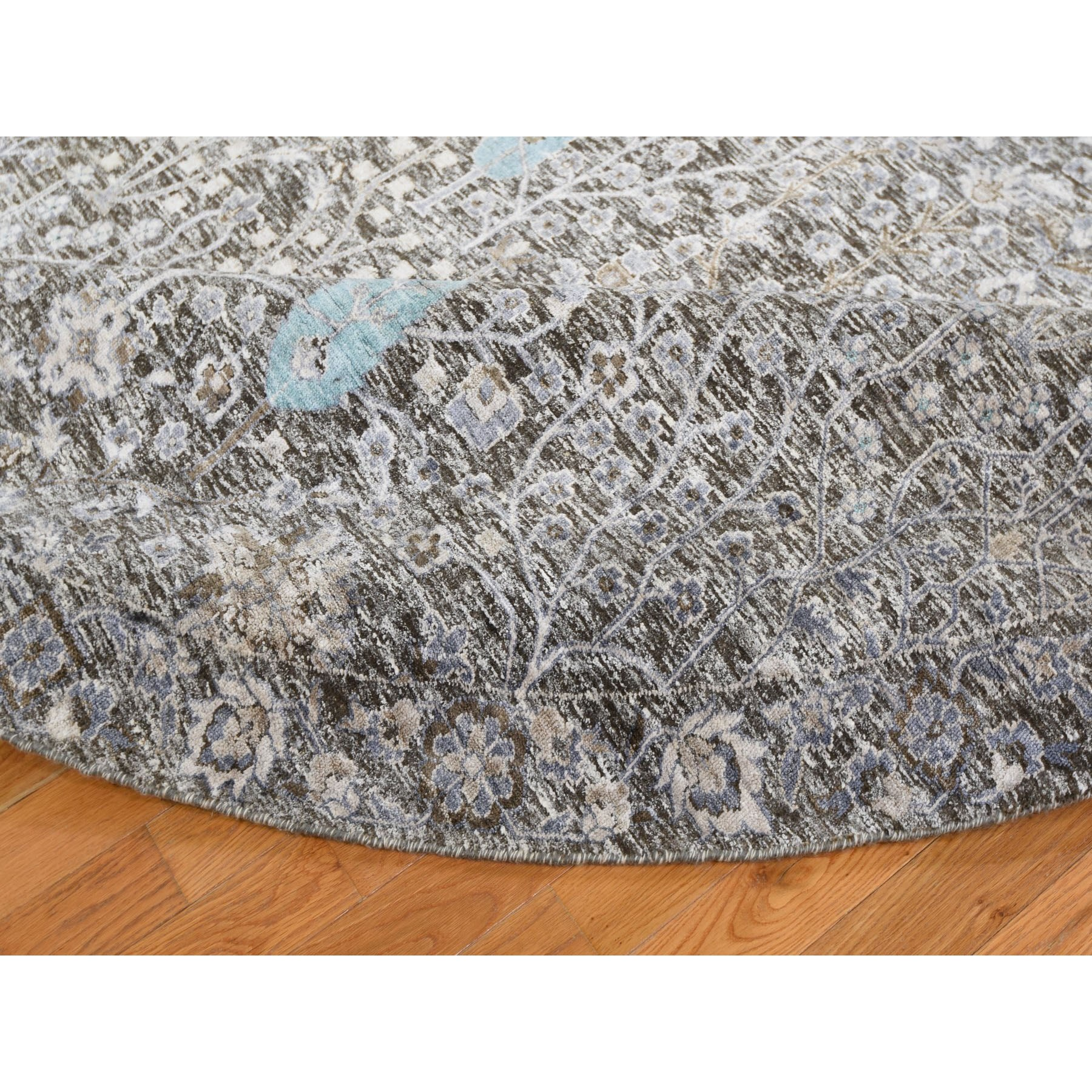12-x12- Round Cypress Tree Design Silk with Textured Wool Hand Knotted Oriental Rug