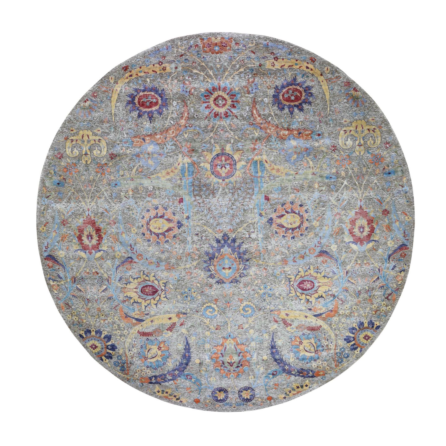 12'x12'  Round Sickle Leaf Design Silk With Textured Wool Hand Knotted Oriental Rug