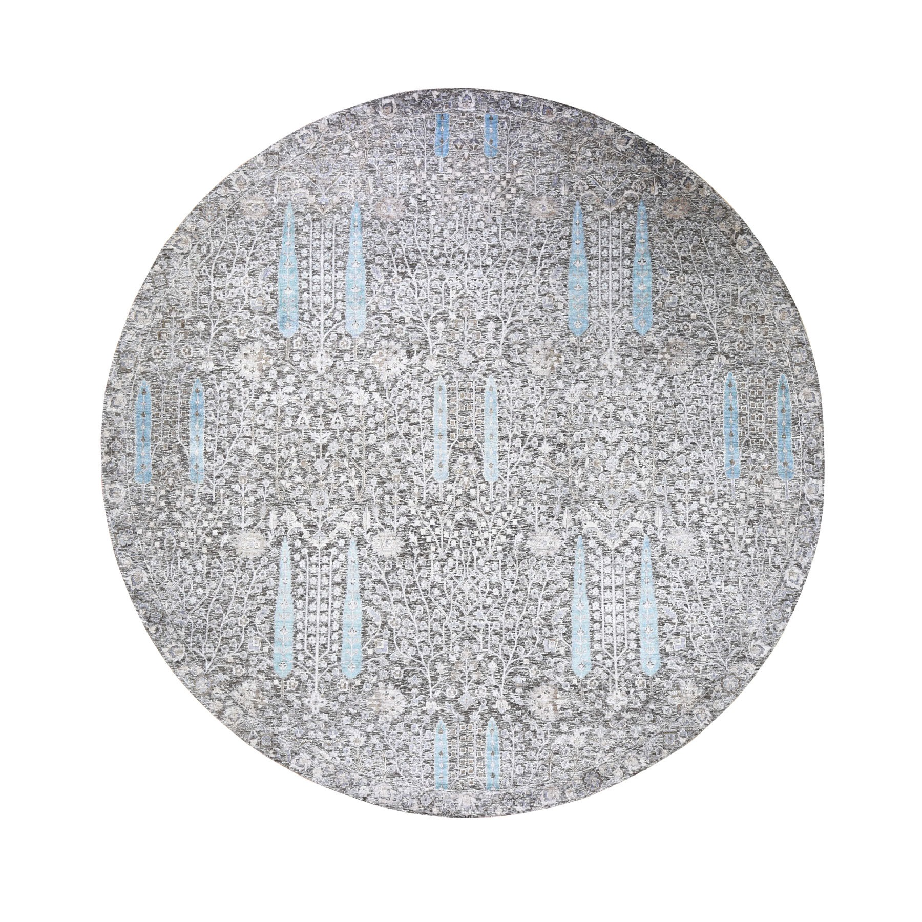 """9'10""""X9'10"""" Round Cypress Tree Design Silk With Textured Wool Hand Knotted Oriental Rug moad89c6"""