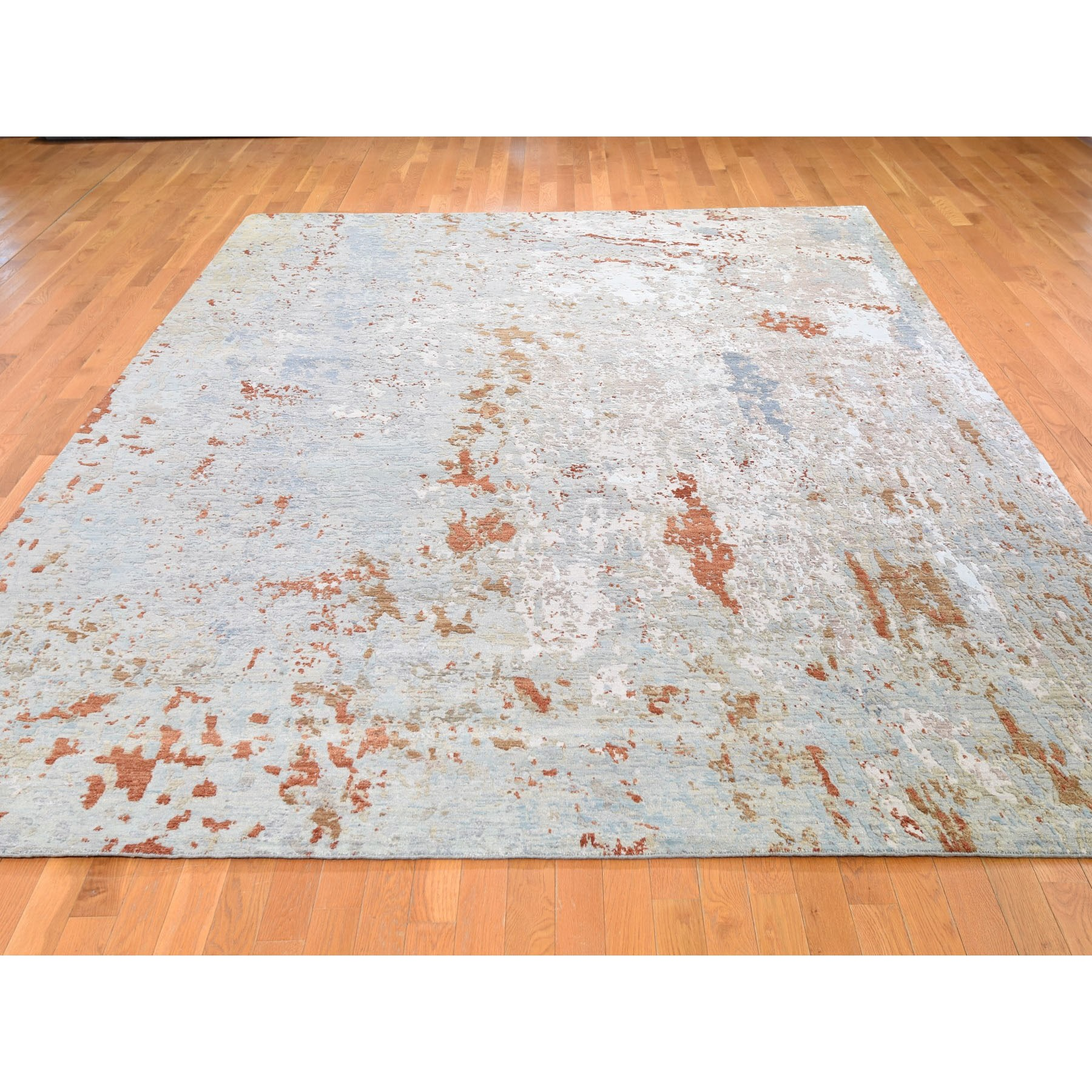 9-x12-2  Hi-Low Pile Abstract Design Denser weave Wool And Silk Hand Knotted Oriental Rug