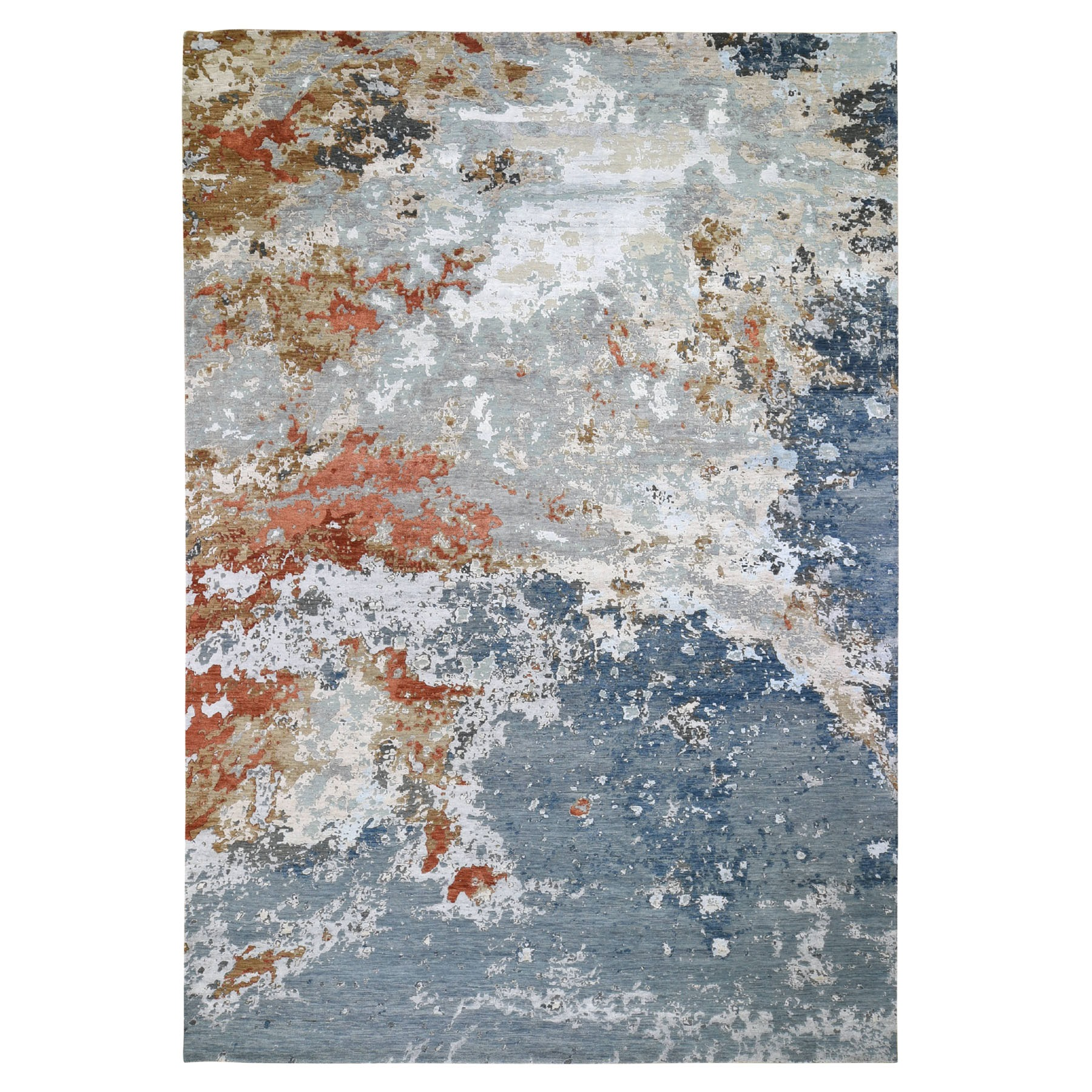 "9'10""X14'3"" Gray Abstract Design Wool And Silk Hi-Low Pile Denser Weave Hand Knotted Oriental Rug moad89d0"