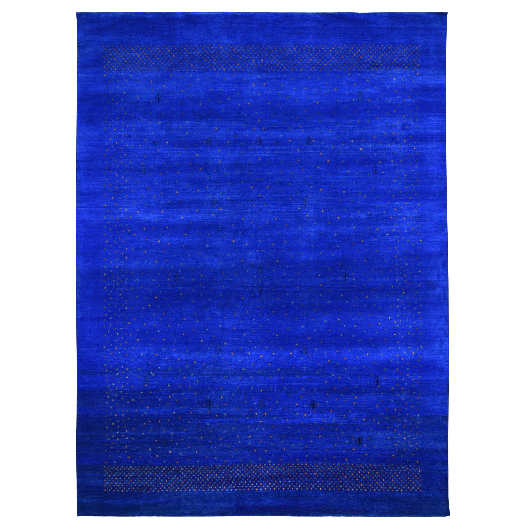 """8'9""""X11'10"""" Blue Pure Wool Lori Buft Gabbeh Thick And Plush Hand Knotted Oriental Rug moad89da"""