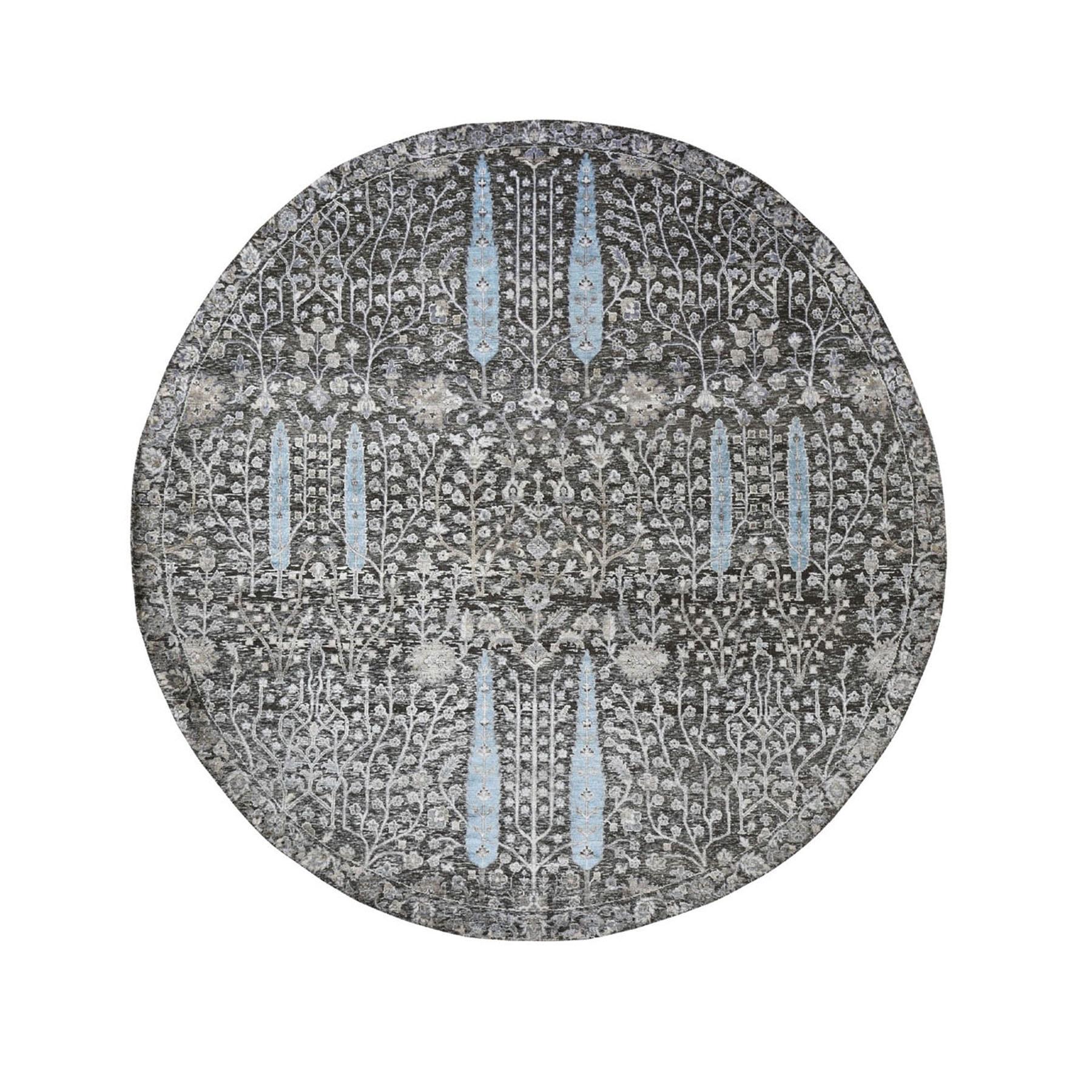 "7'1""x7'1"" Round Cypress Tree Design Silk with Textured Wool Hand Knotted Oriental Rug"