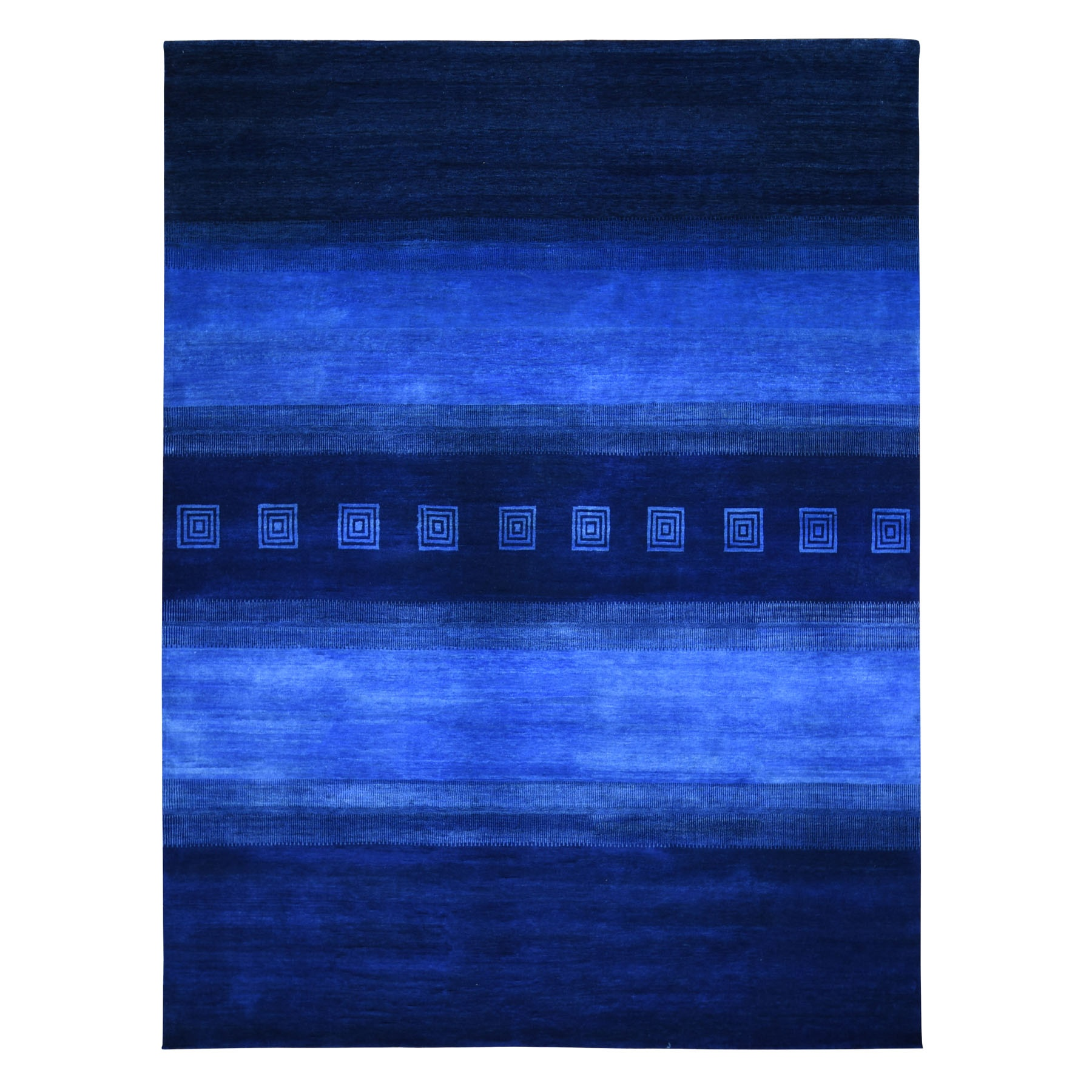 """9'1""""X12' Blue Pure Wool Lori Buft Gabbeh Thick And Lush Hand Knotted Oriental Rug moad89d6"""