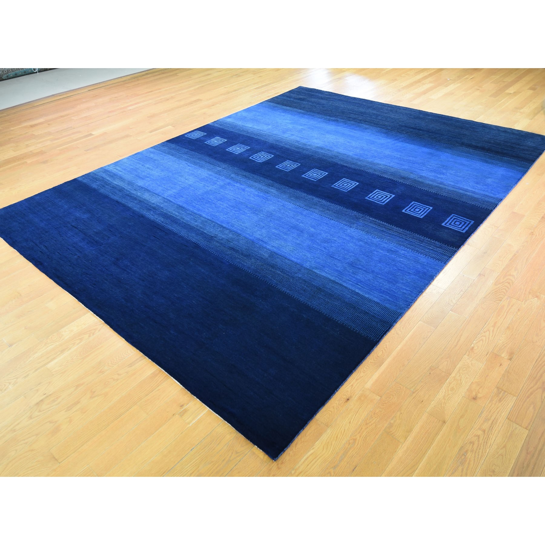 9-1 x12- Blue Pure Wool Lori Buft Gabbeh Thick And Lush Hand Knotted Oriental Rug