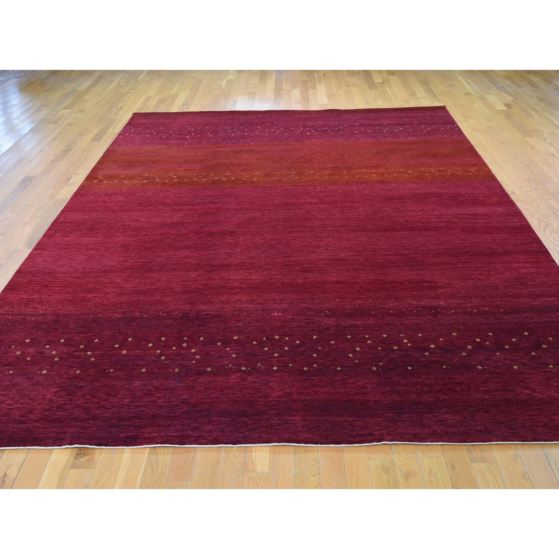9-x11-9  Red Pure Wool Lori Buft Gabbeh Thick And Plush Hand Knotted Oriental Rug