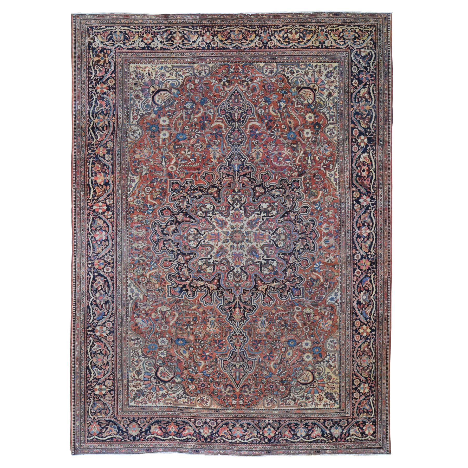 """8'9""""X12'6"""" Red Antique Persian Sarouk Fereghan  Evern Wear, Soft Hand Knotted Oriental Rug moad89d9"""