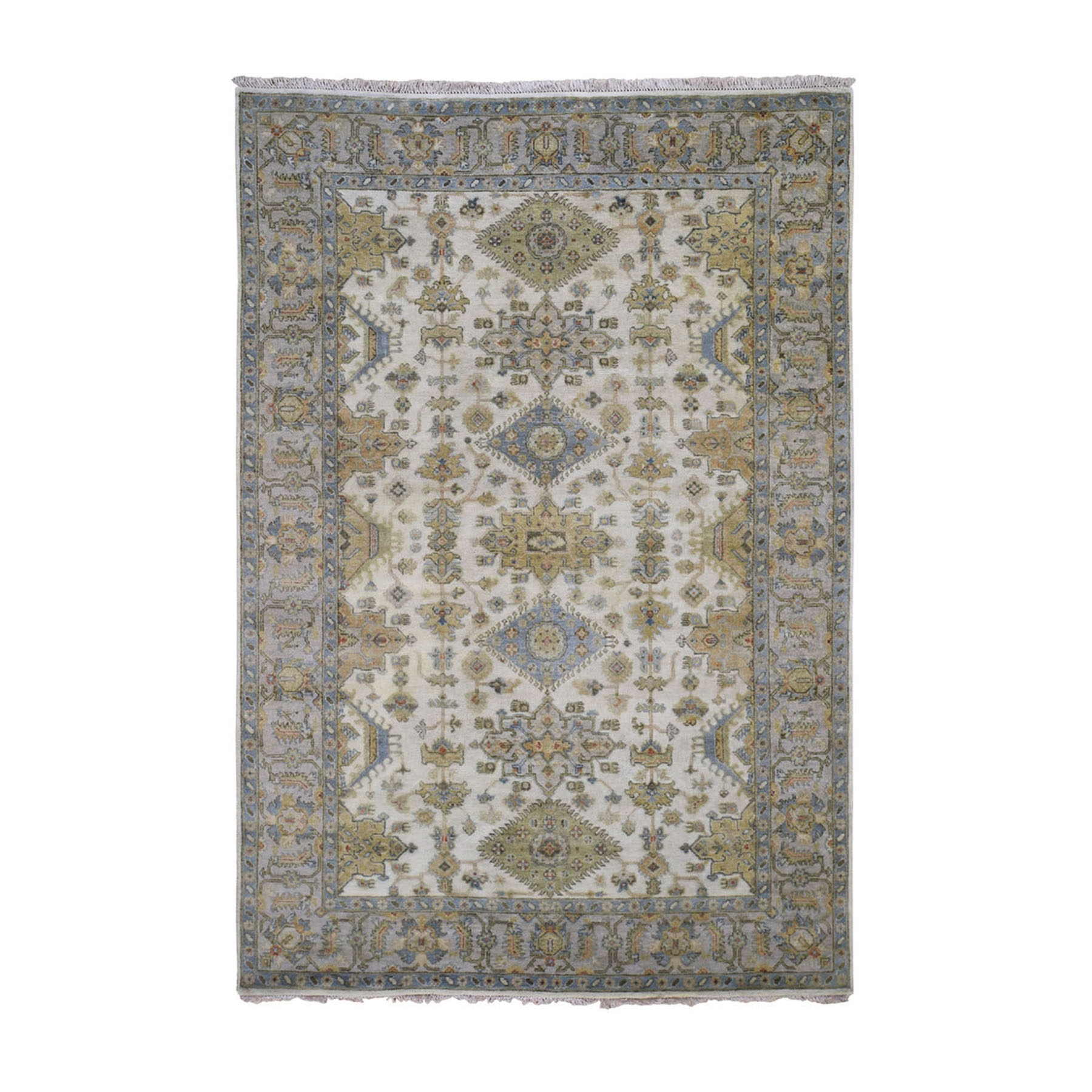 """5'X6'10"""" Ivory Karajeh Design Pure Wool Hand Knotted Oriental Rug moad89e0"""