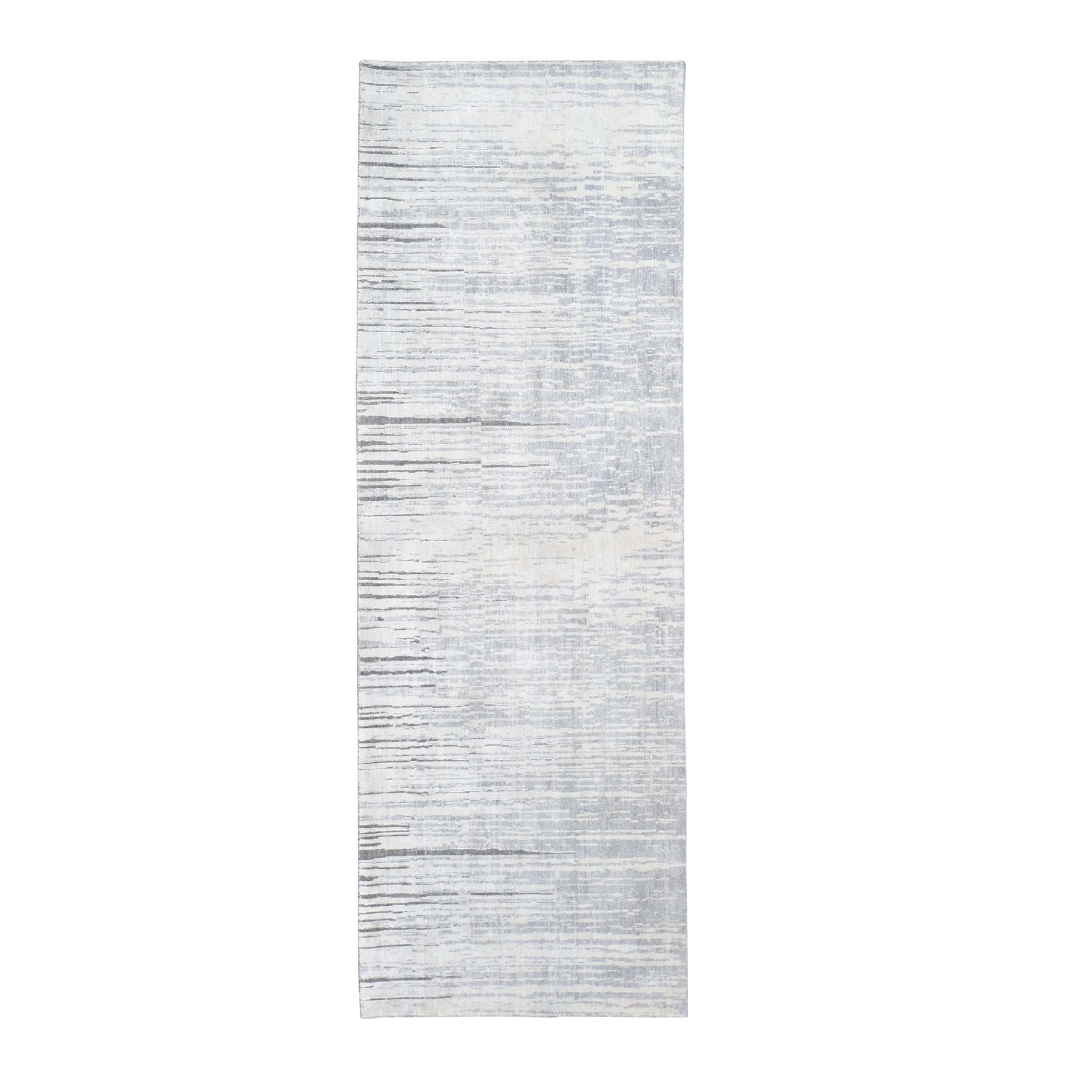 3'X9' Ombre Design Pure Silk Hand Knotted Runner Oriental Rug moad89ea