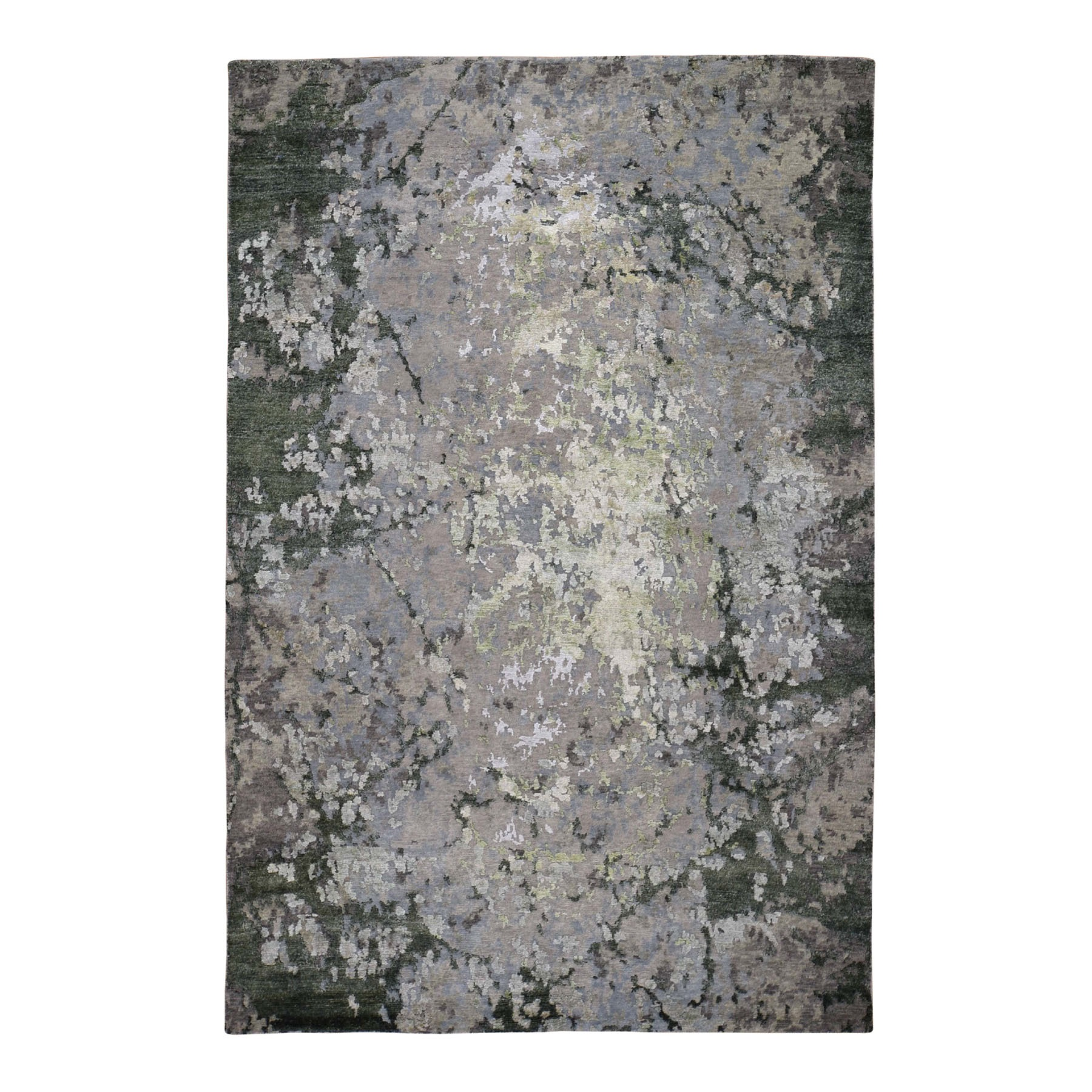 """6'2""""X9'1""""  Green Hi-Lo Pile Abstract Design Wool And Silk Hand Knotted Oriental Rug moad89ec"""
