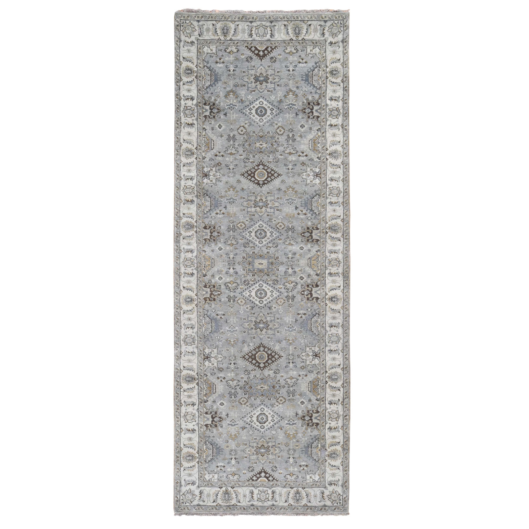 """4'2""""X11'9"""" Gray Karajeh Design Pure Wool Hand Knotted Wide Runner Oriental Rug moad89ed"""