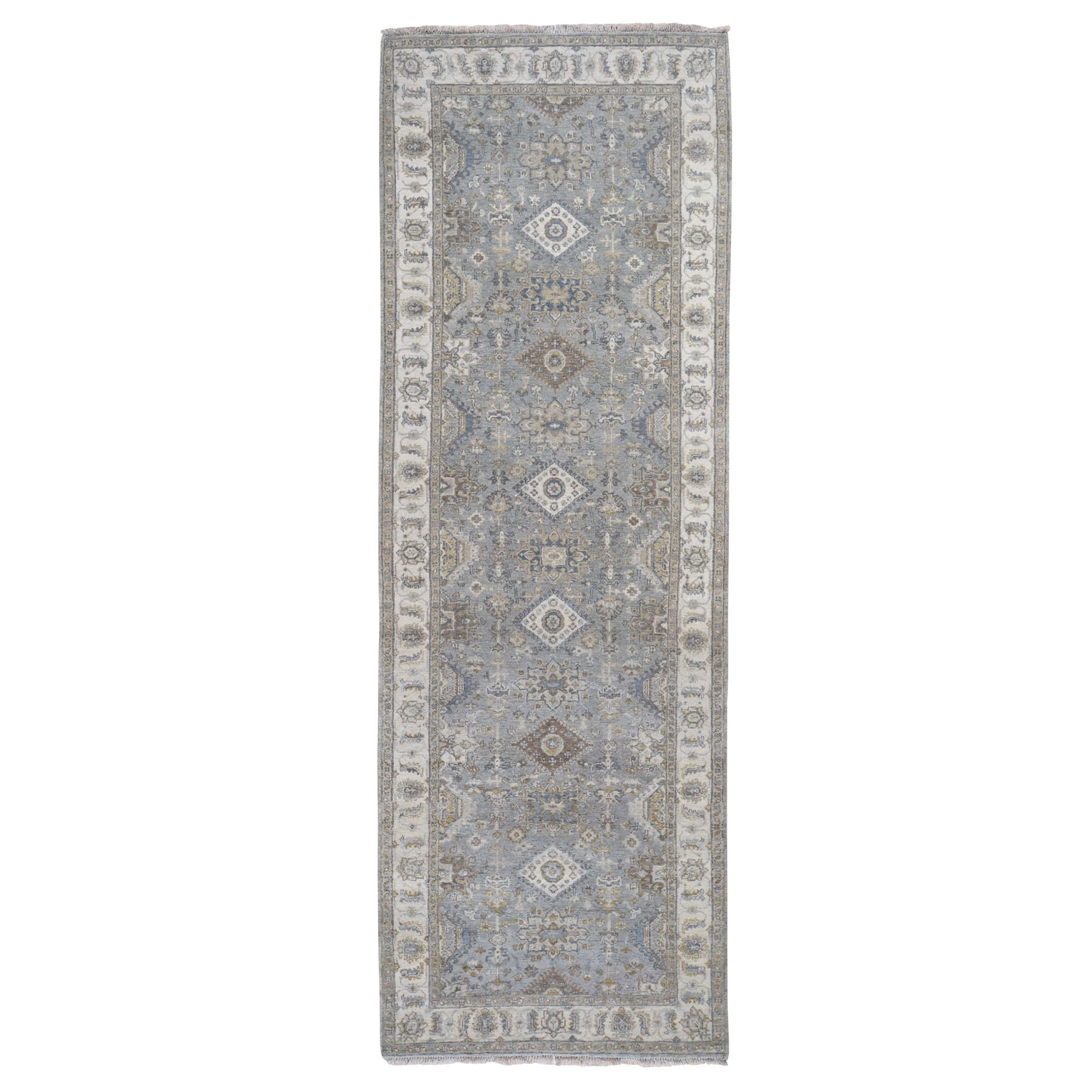 """4'X11'10"""" Gray Karajeh Design Pure Wool Hand Knotted Wide Runner Oriental Rug moad89ee"""