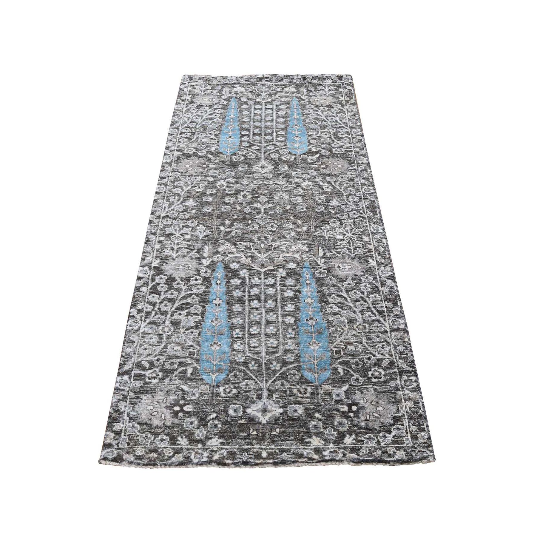 """2'6""""X6'  Cypress Tree Design Silk With Textured Wool Hand Knotted Runner Oriental Rug moad89e6"""