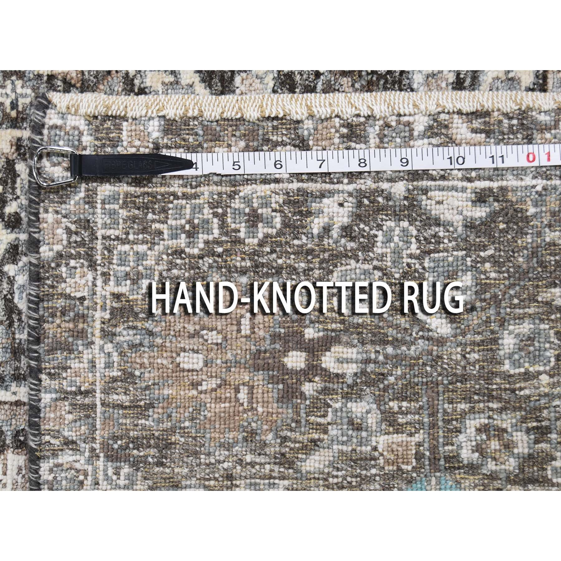 2-6 x6-  Cypress Tree Design Silk With Textured Wool Hand Knotted Runner Oriental Rug