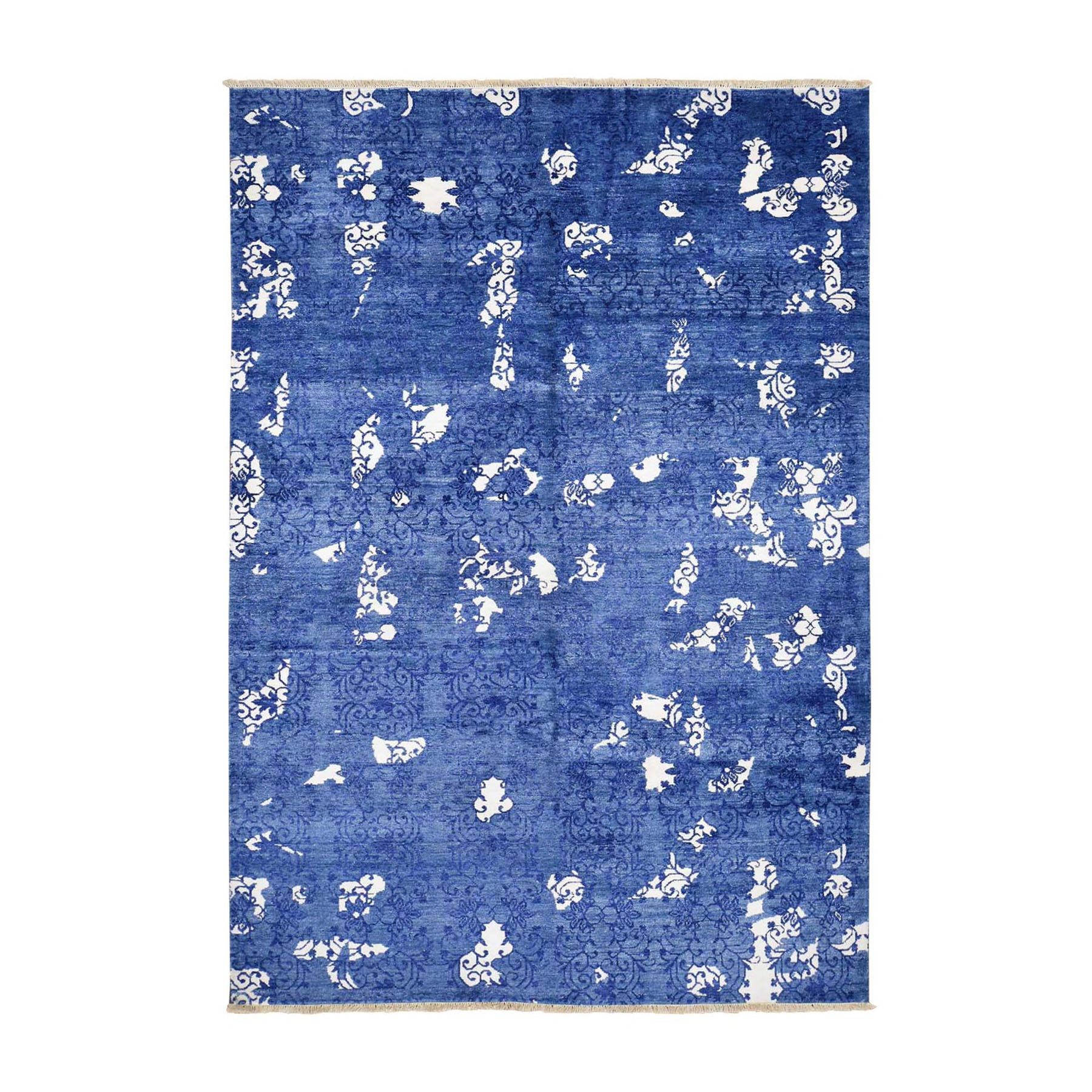 "5'6""X8'  Blue Hand Knotted Tone On Tone Modern Wool And Silk Oriental Rug moad89e7"
