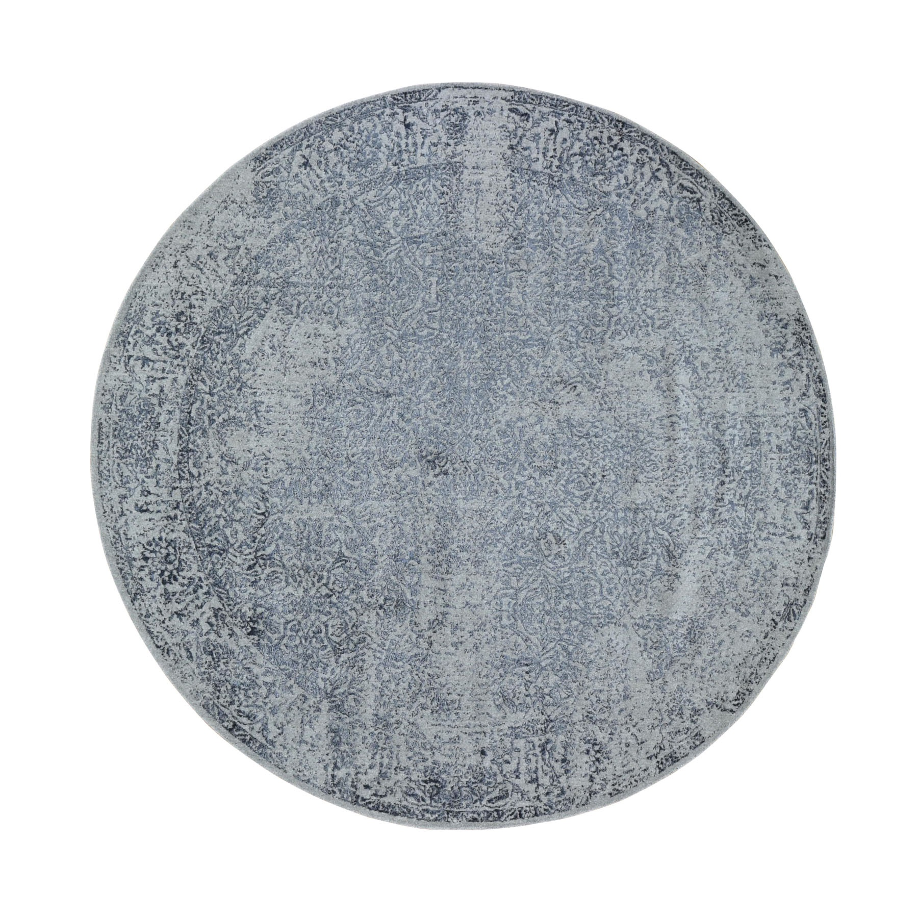 """7'10""""X7'10"""" Round Fine Jacquard Hand Loomed Erased Design Wool And Silk Oriental Rug moad89e9"""