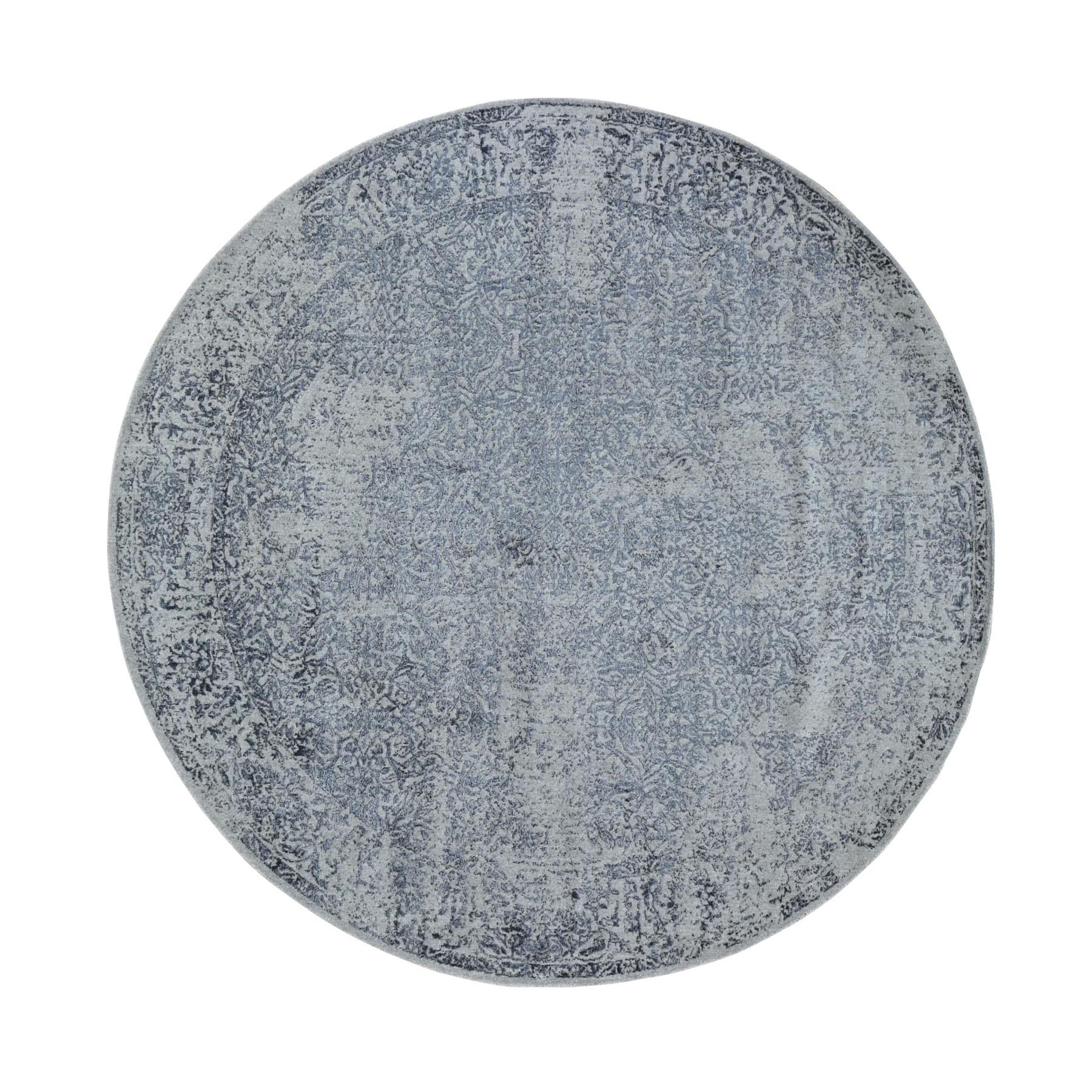 "7'10""x7'10"" Round Fine jacquard Hand Loomed Erased Design Wool And Silk Oriental Rug"
