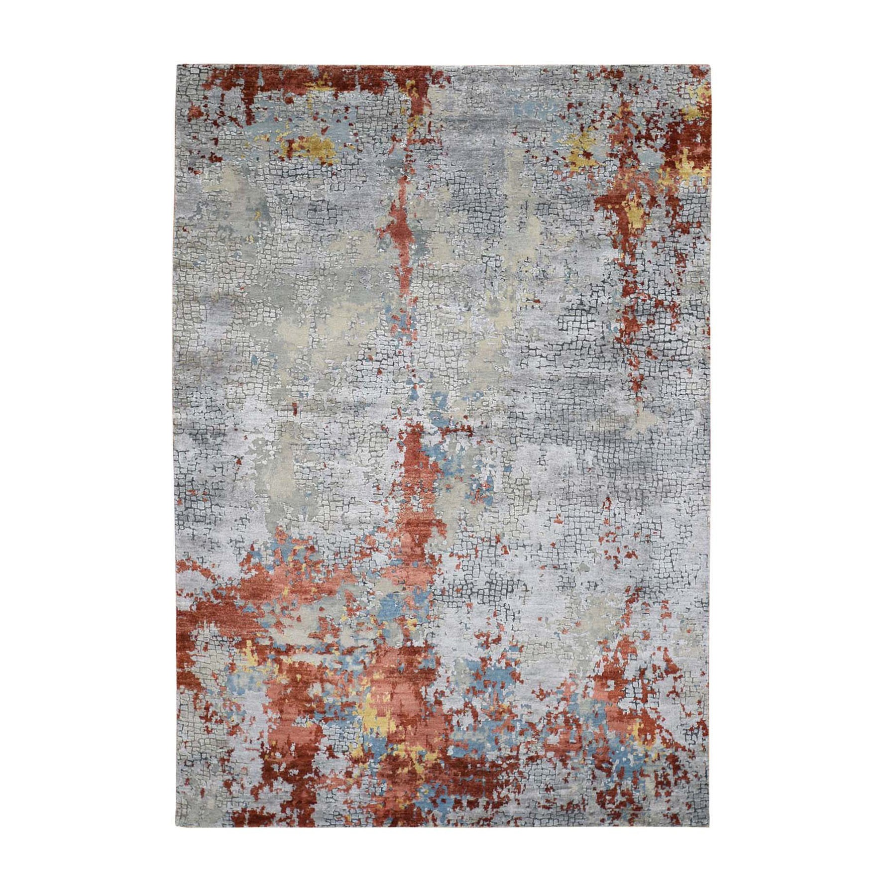 5'X8' Wool And Silk Abstract With Fire Mosaic Design Hand-Knotted Oriental Rug moad8960